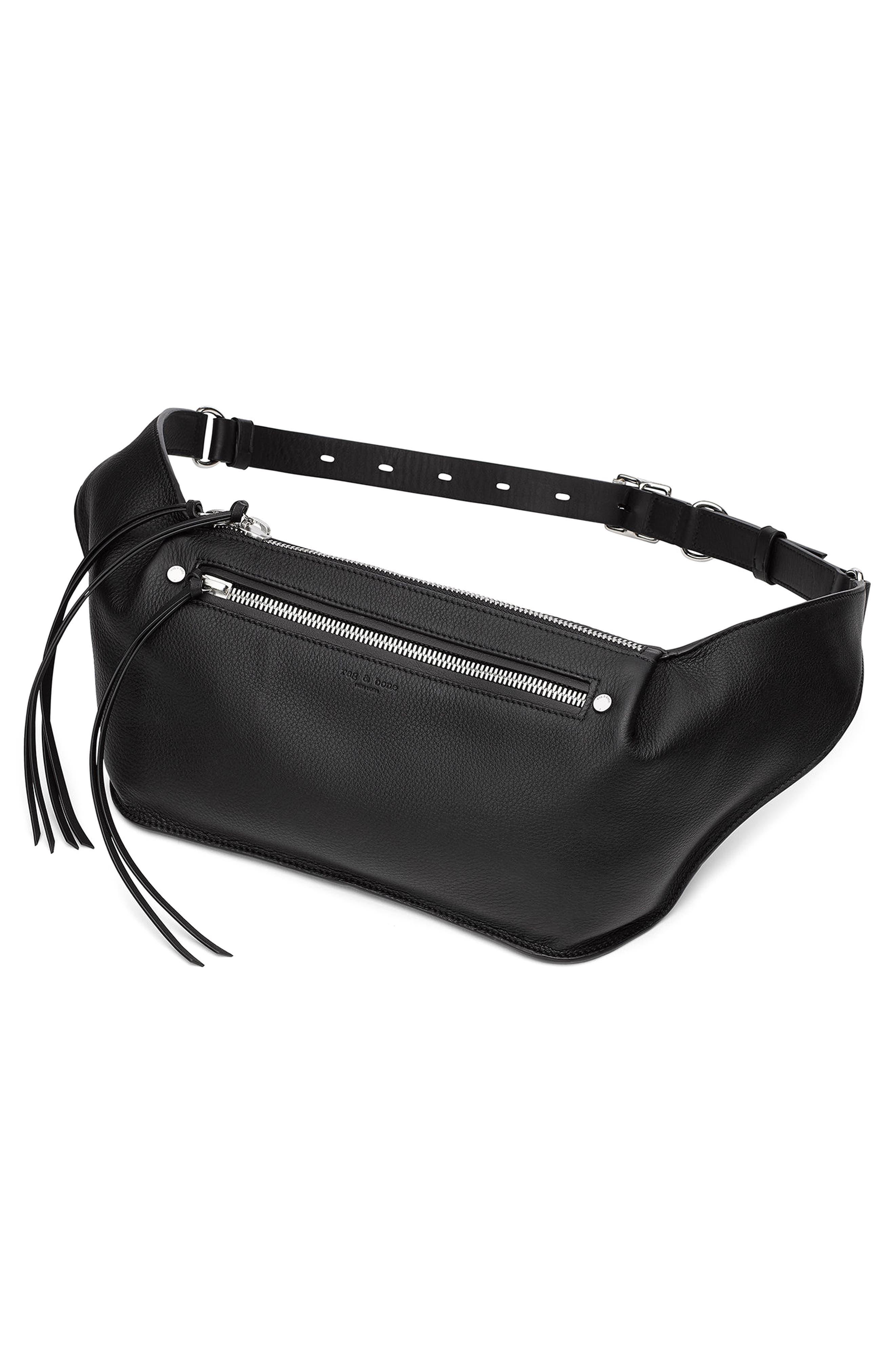 Leather Belt Bag,                             Alternate thumbnail 7, color,                             BLACK