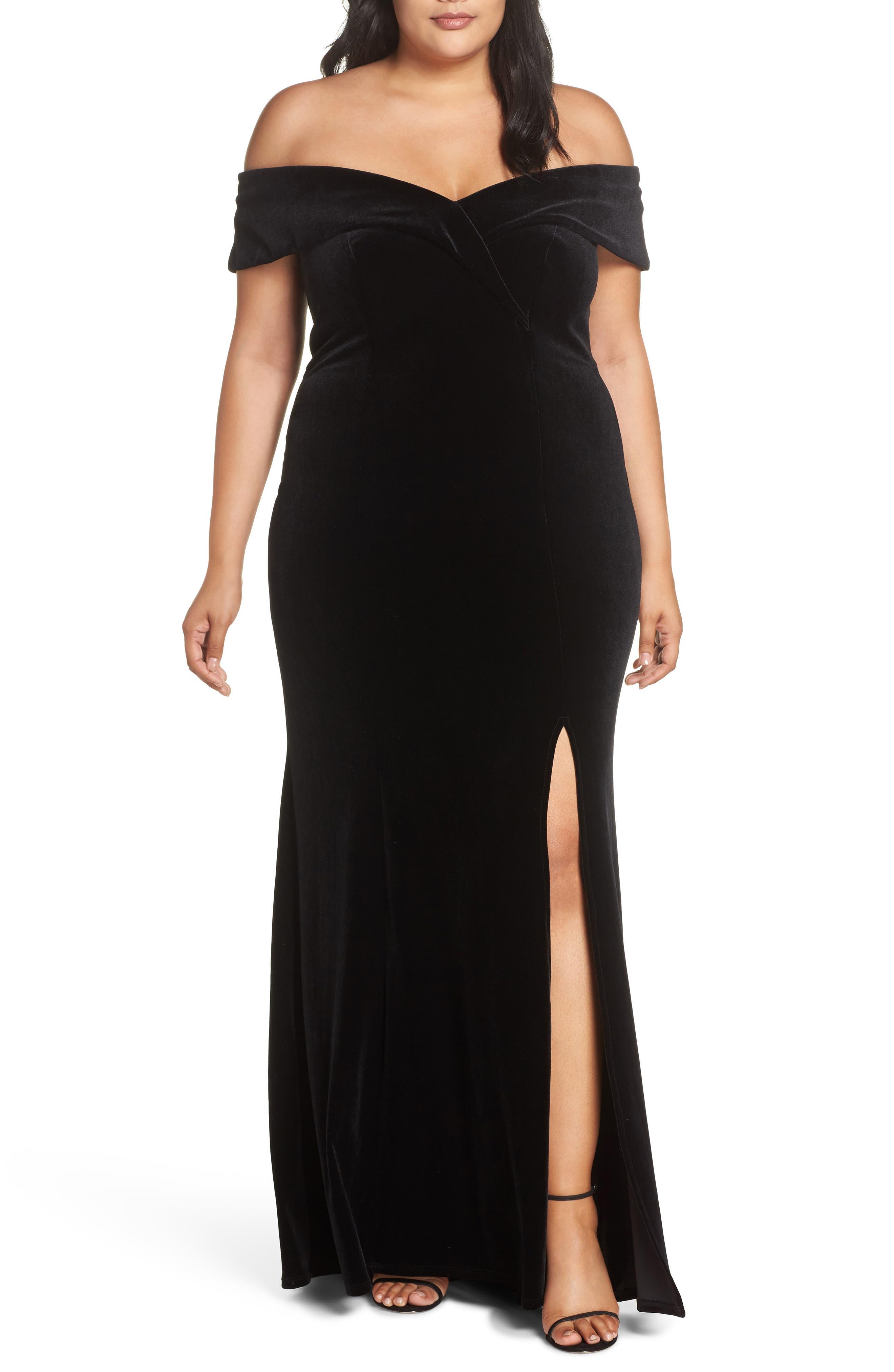 Off the Shoulder Velvet Gown,                             Main thumbnail 1, color,                             BLACK