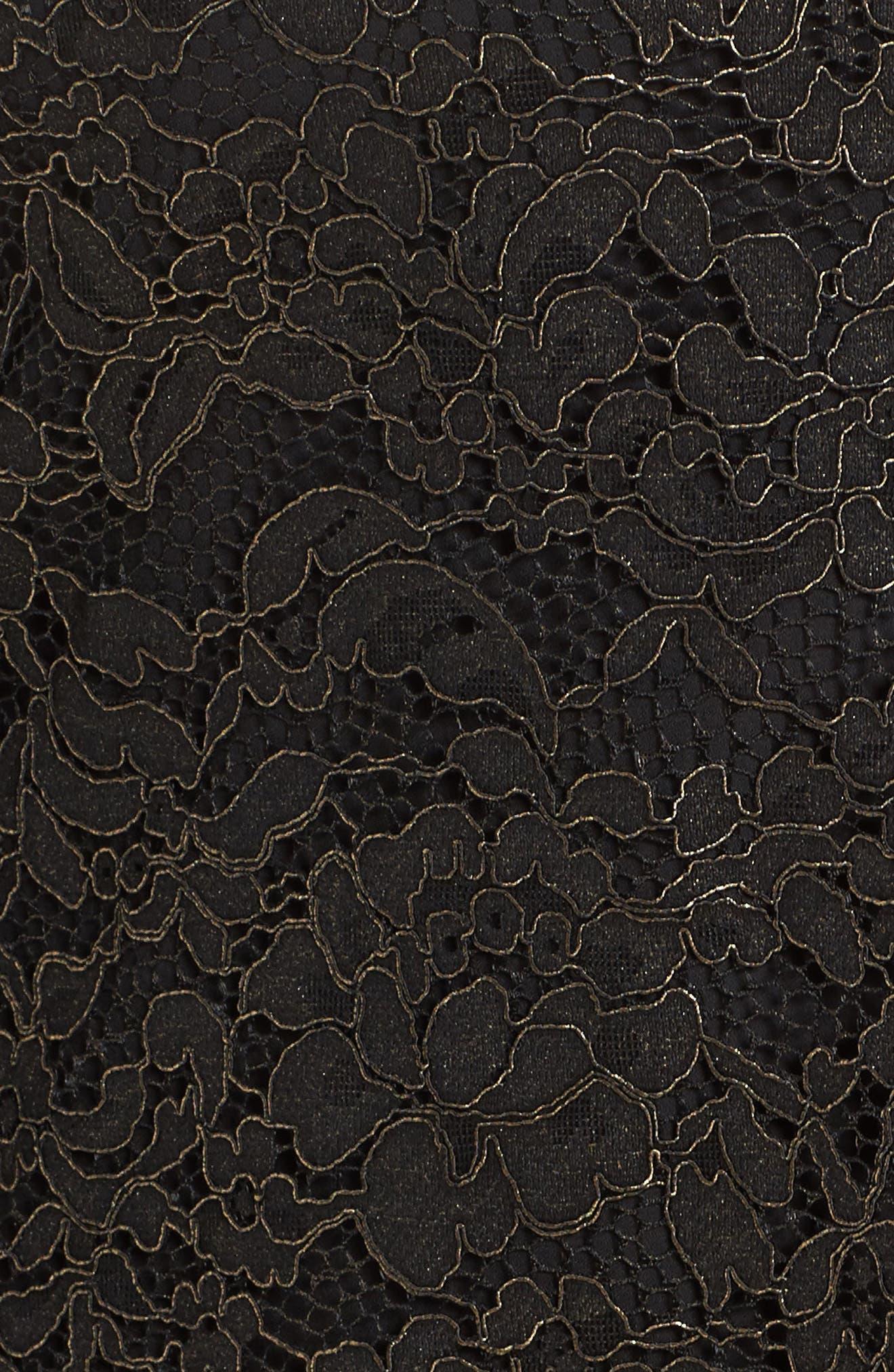 Off the Shoulder Black Gold Lace Dress,                             Alternate thumbnail 5, color,                             005