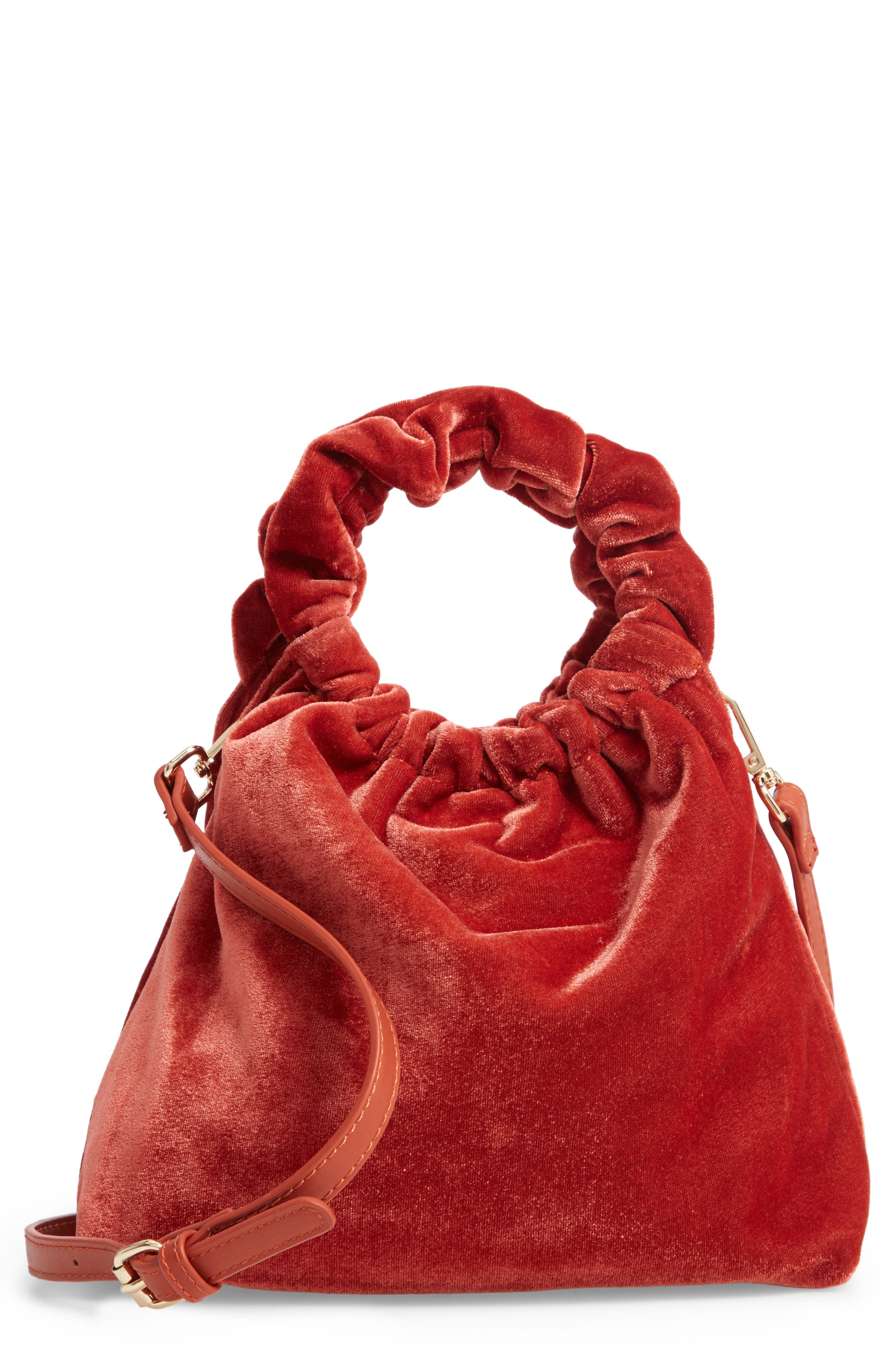 Mini Tyll Velvet Top Handle Bag,                             Main thumbnail 1, color,                             RUST