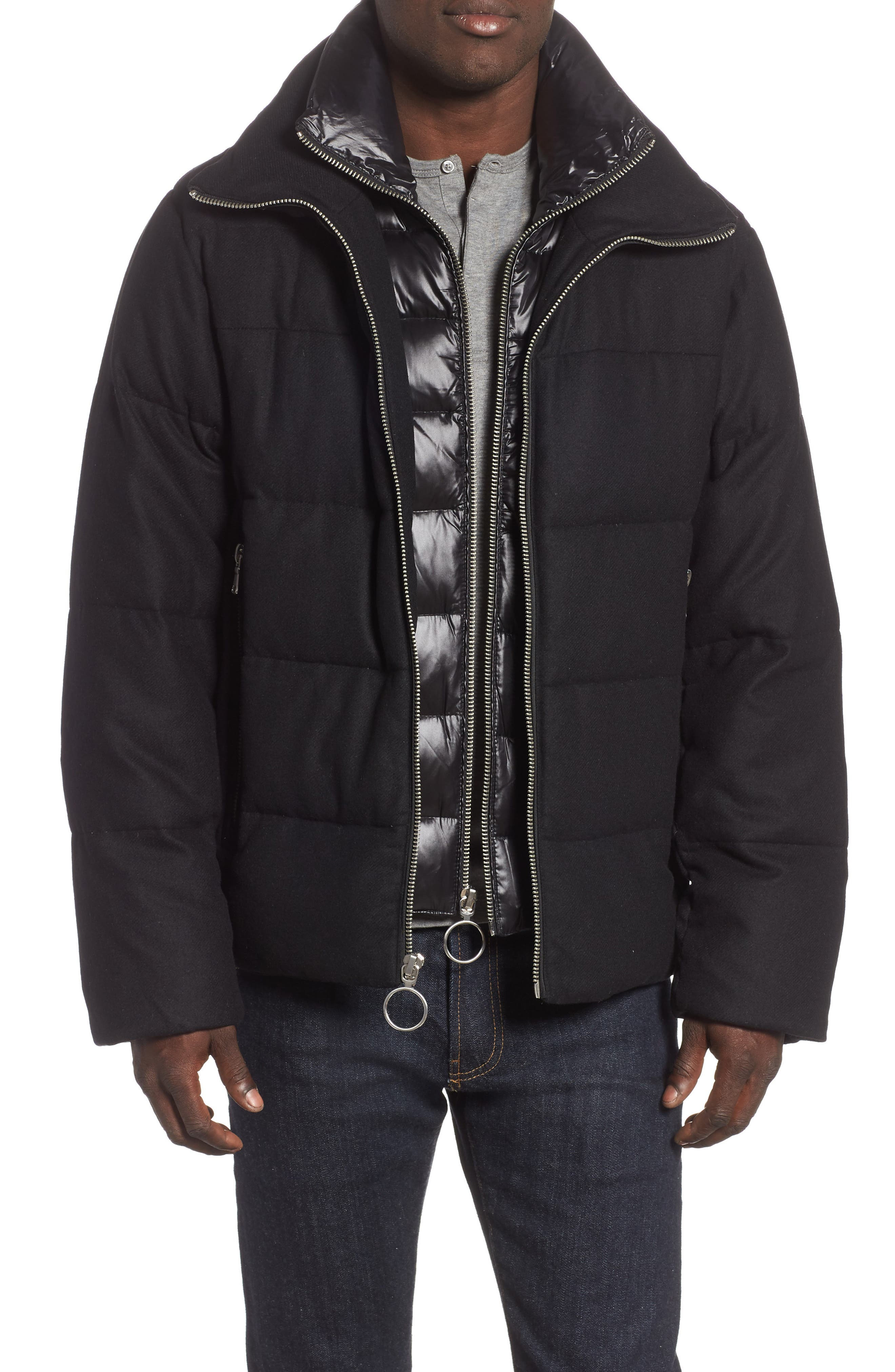 Wool Blend Puffer Jacket,                             Main thumbnail 1, color,                             BLACK