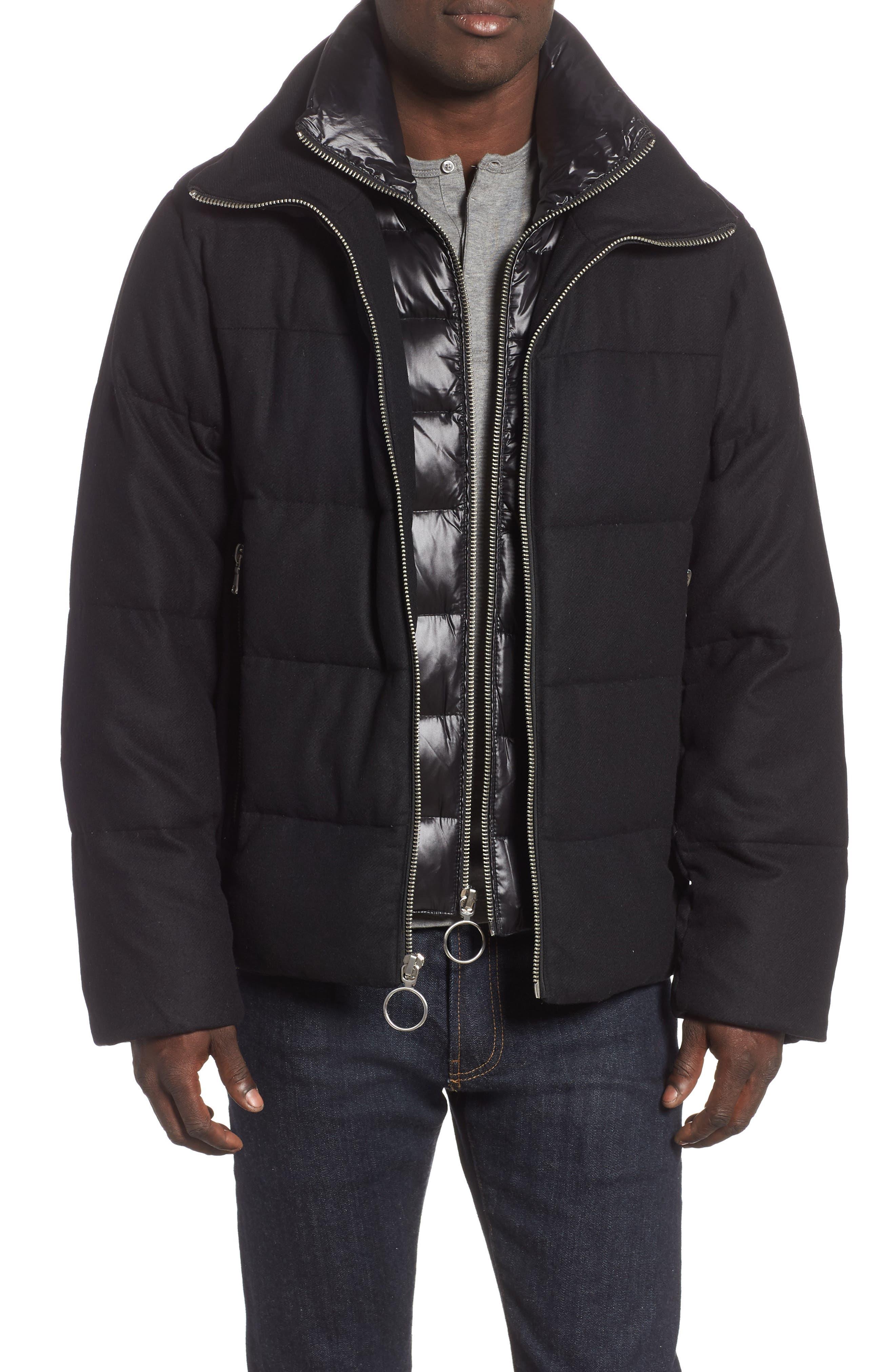 Wool Blend Puffer Jacket,                         Main,                         color, BLACK