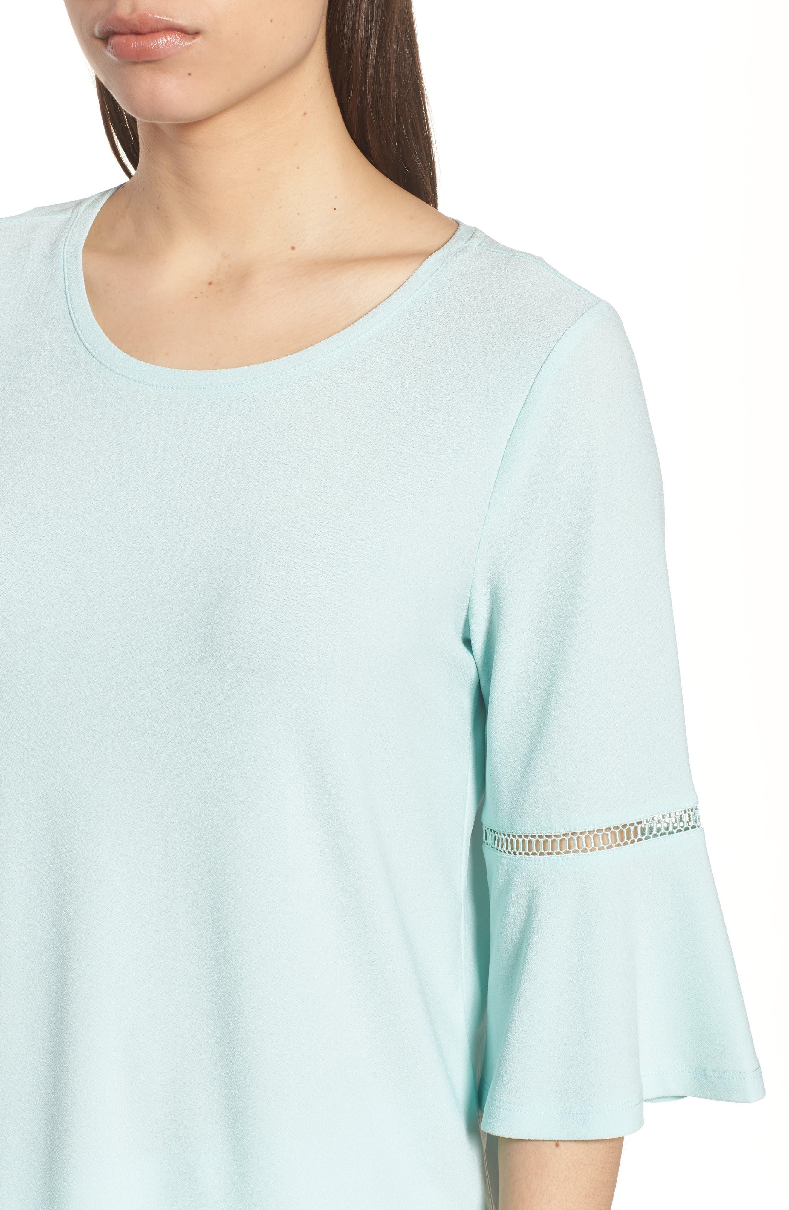 Crochet Detail Bell Sleeve Top,                             Alternate thumbnail 11, color,