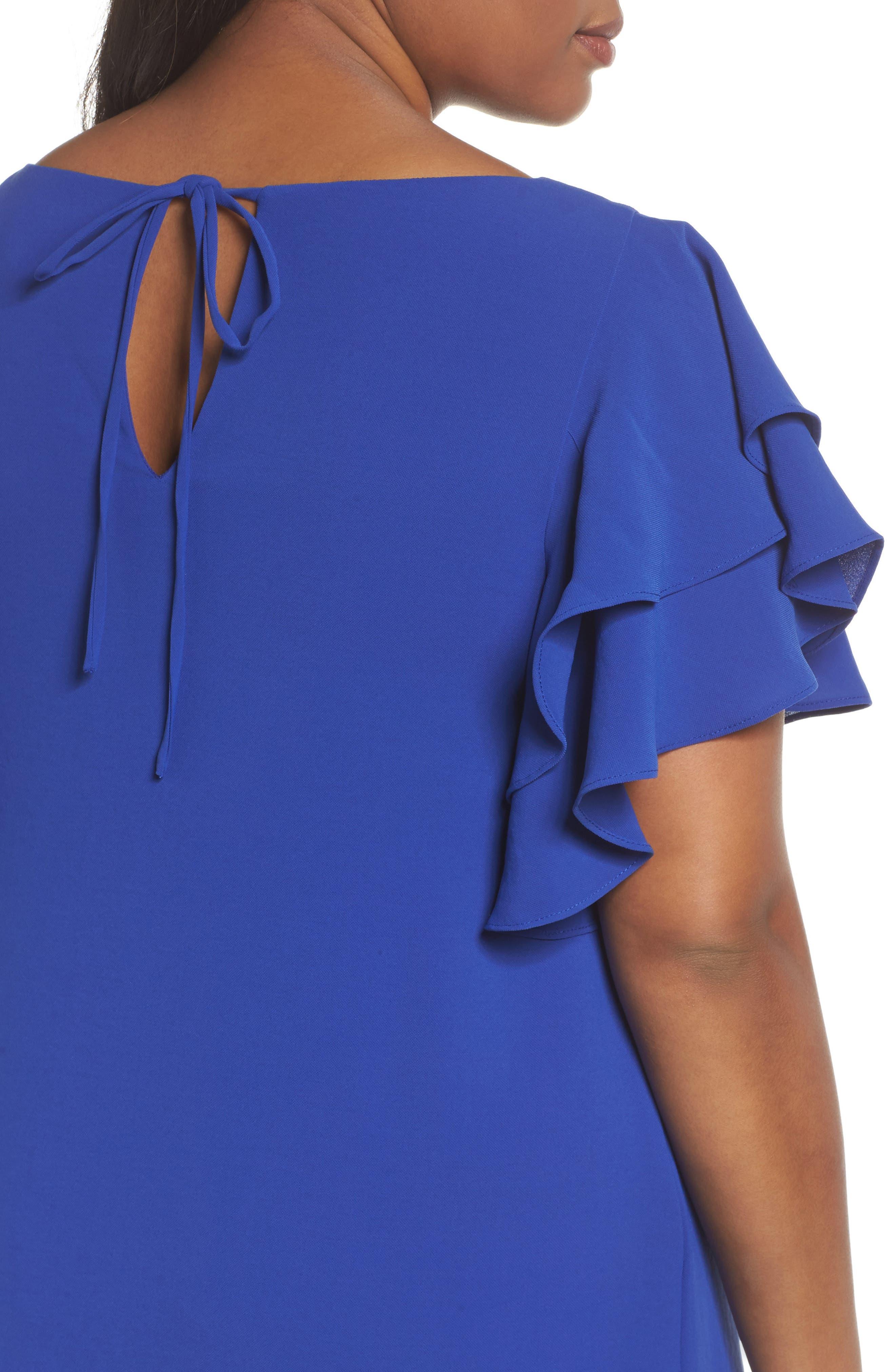 Ruffle Sleeve Crepe Shift Dress,                             Alternate thumbnail 4, color,                             492