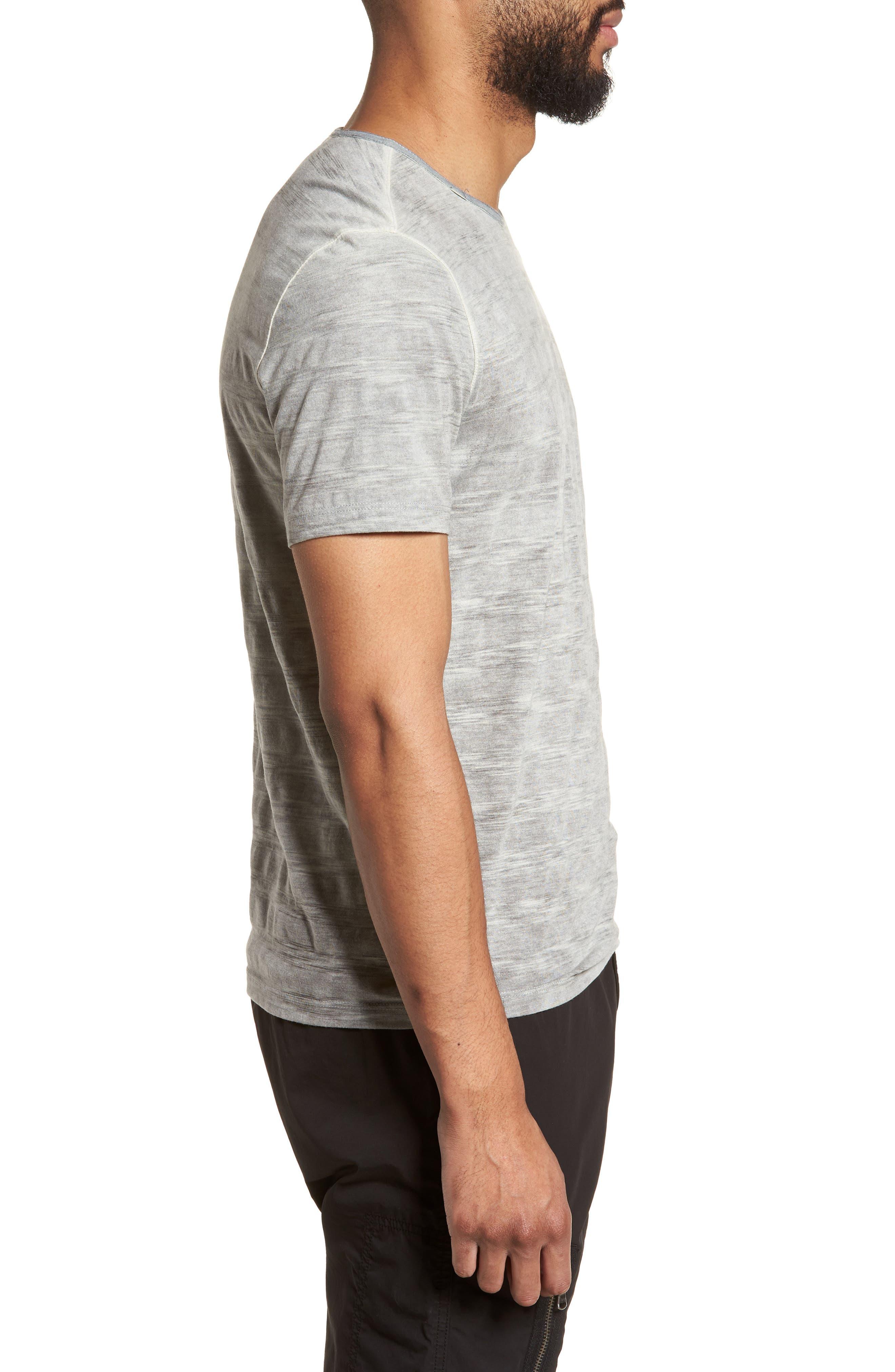 Slim Fit Ombré Stripe T-Shirt,                             Alternate thumbnail 3, color,                             077
