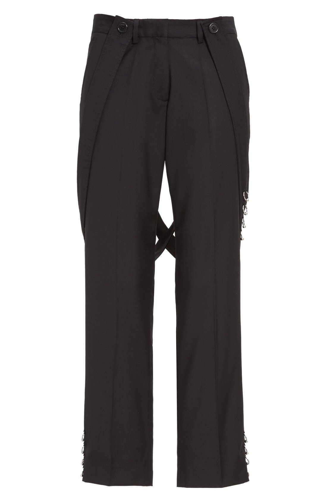 ASHLEY WILLIAMS,                             'Piercing' Wool Ankle Pants with Detachable Suspenders,                             Alternate thumbnail 4, color,                             001