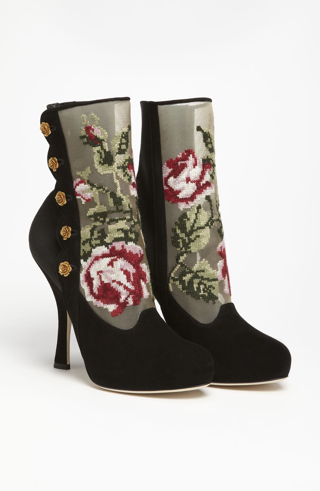 Tapestry Suede Bootie,                             Alternate thumbnail 3, color,                             001