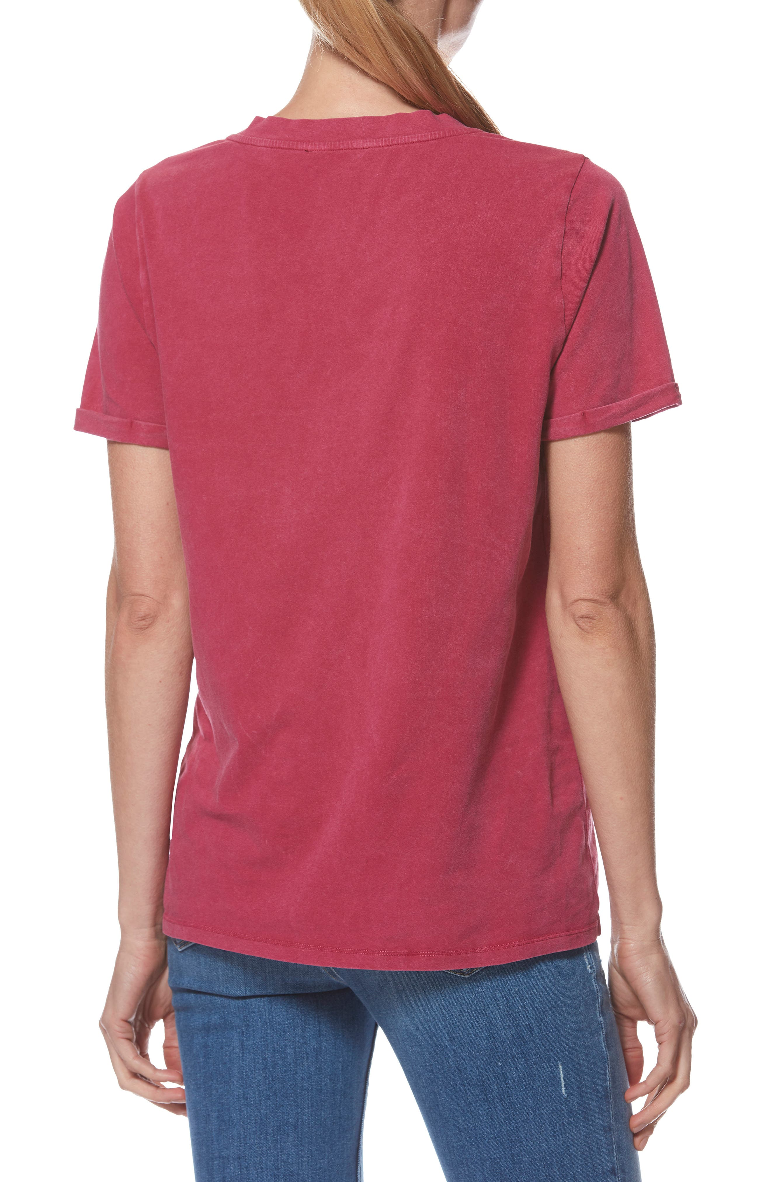 Arielle V-Neck Tee,                             Alternate thumbnail 2, color,                             VINTAGE CHERRY JUBELLE