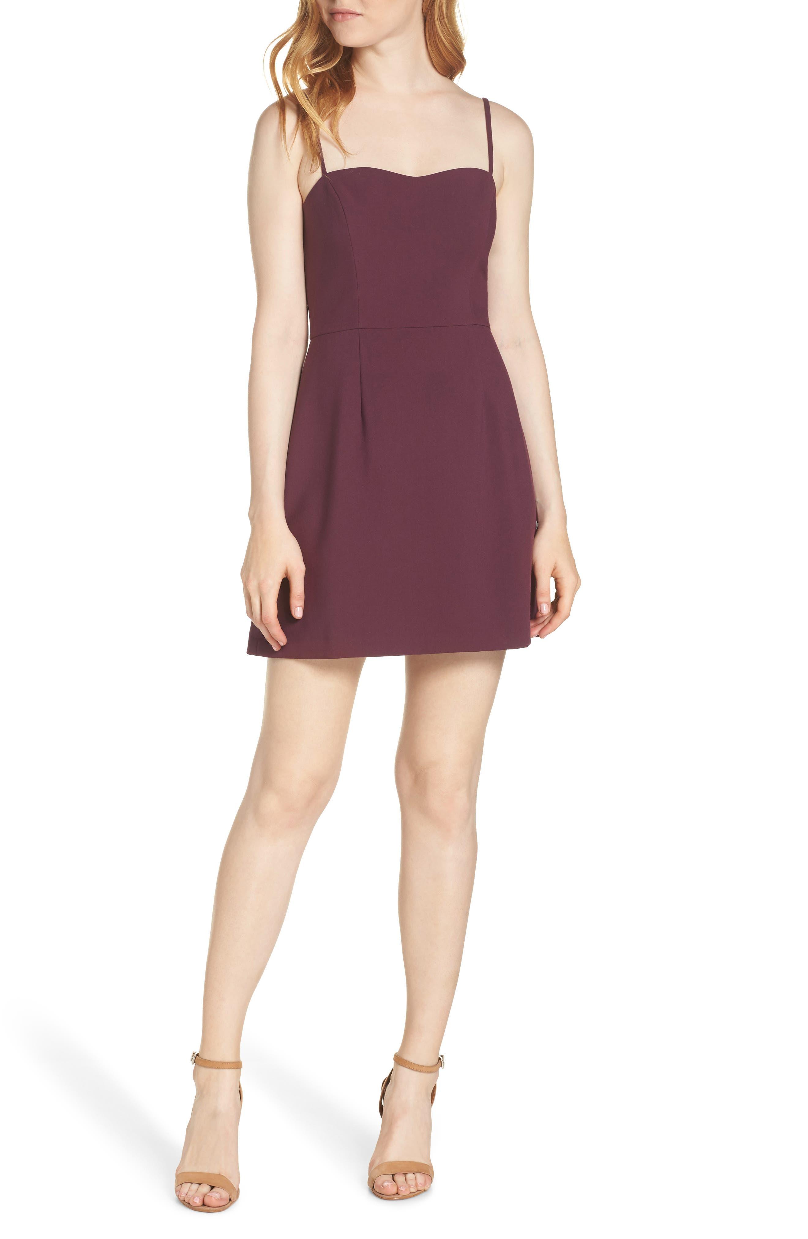 Whisper Light Sweetheart Minidress,                         Main,                         color, PLUM NOIR