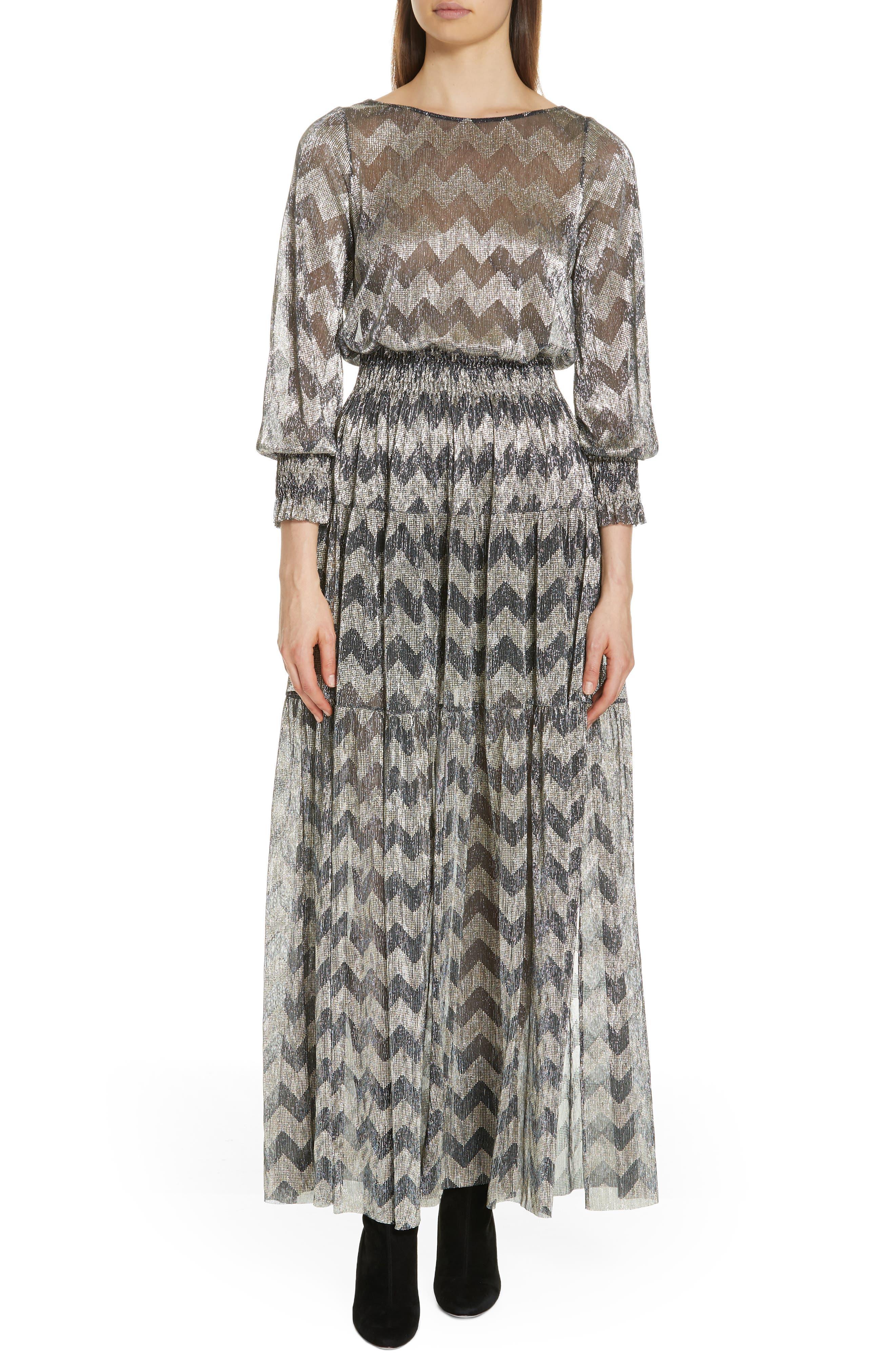Grey Metallic Zigzag Maxi Dress,                         Main,                         color, ANTHRACITE