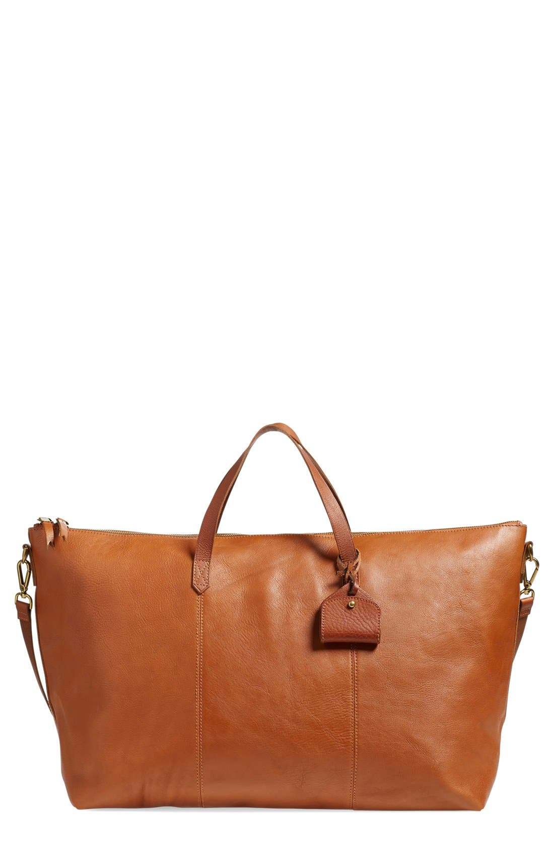 'Transport' Weekend Bag,                             Main thumbnail 1, color,                             ENGLISH SADDLE