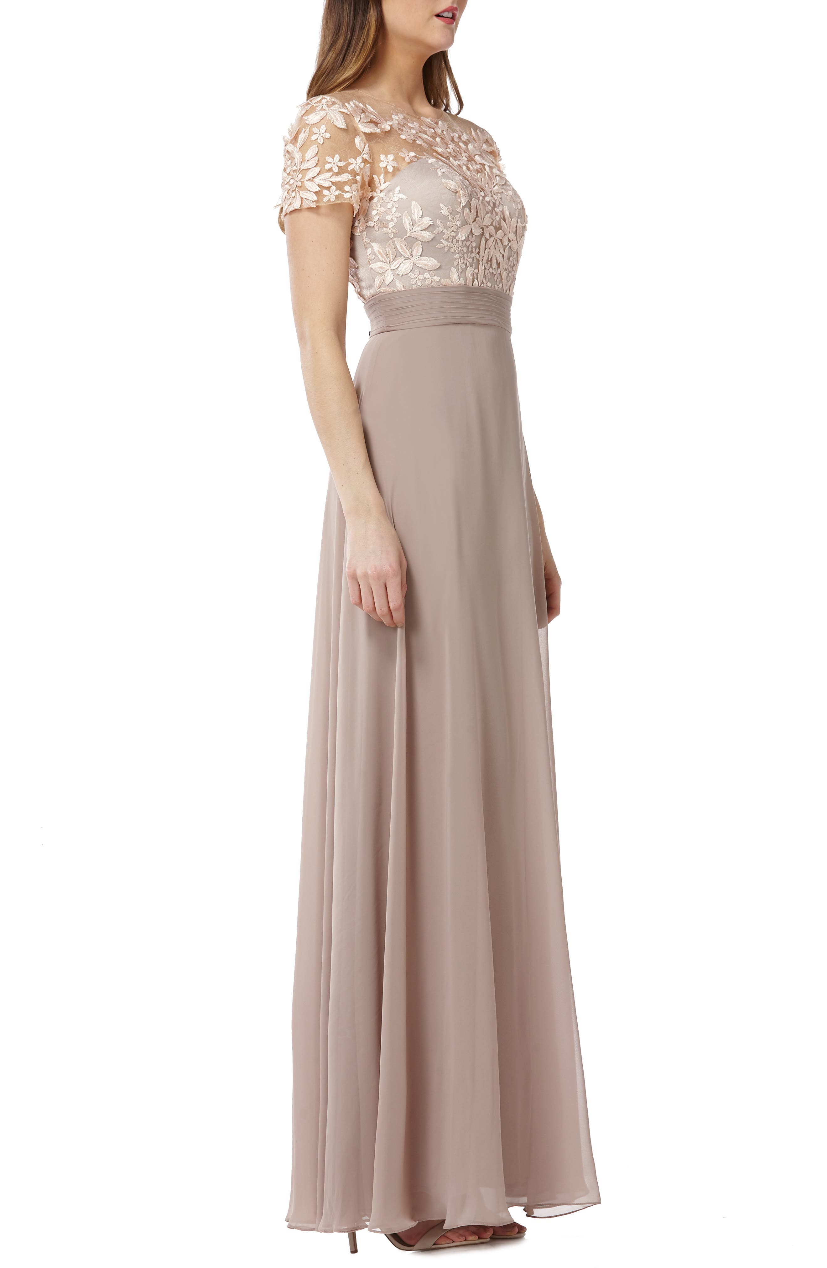 JS COLLECTIONS,                             Embroidered Illusion Bodice Gown,                             Alternate thumbnail 3, color,                             BLUSH/ NUDE