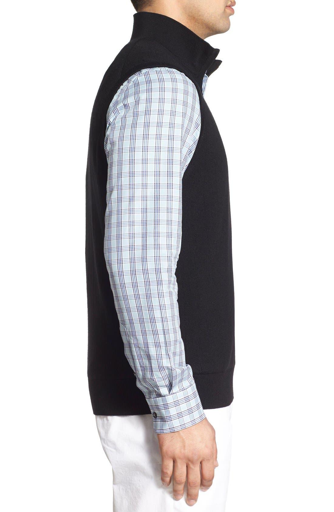 Quarter Zip Wool Sweater Vest,                             Alternate thumbnail 3, color,                             001