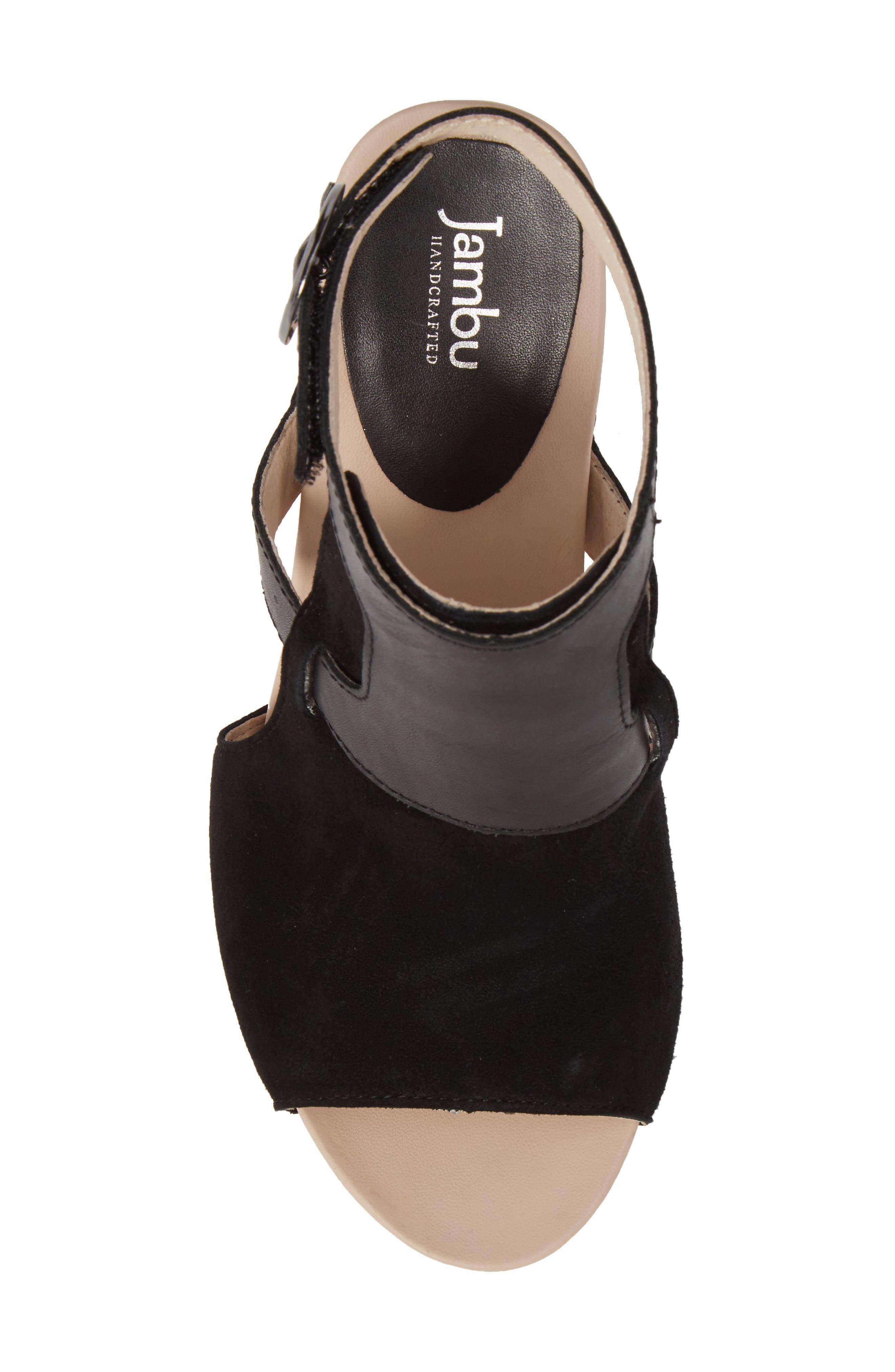 Gina Platform Sandal,                             Alternate thumbnail 5, color,                             BLACK LEATHER