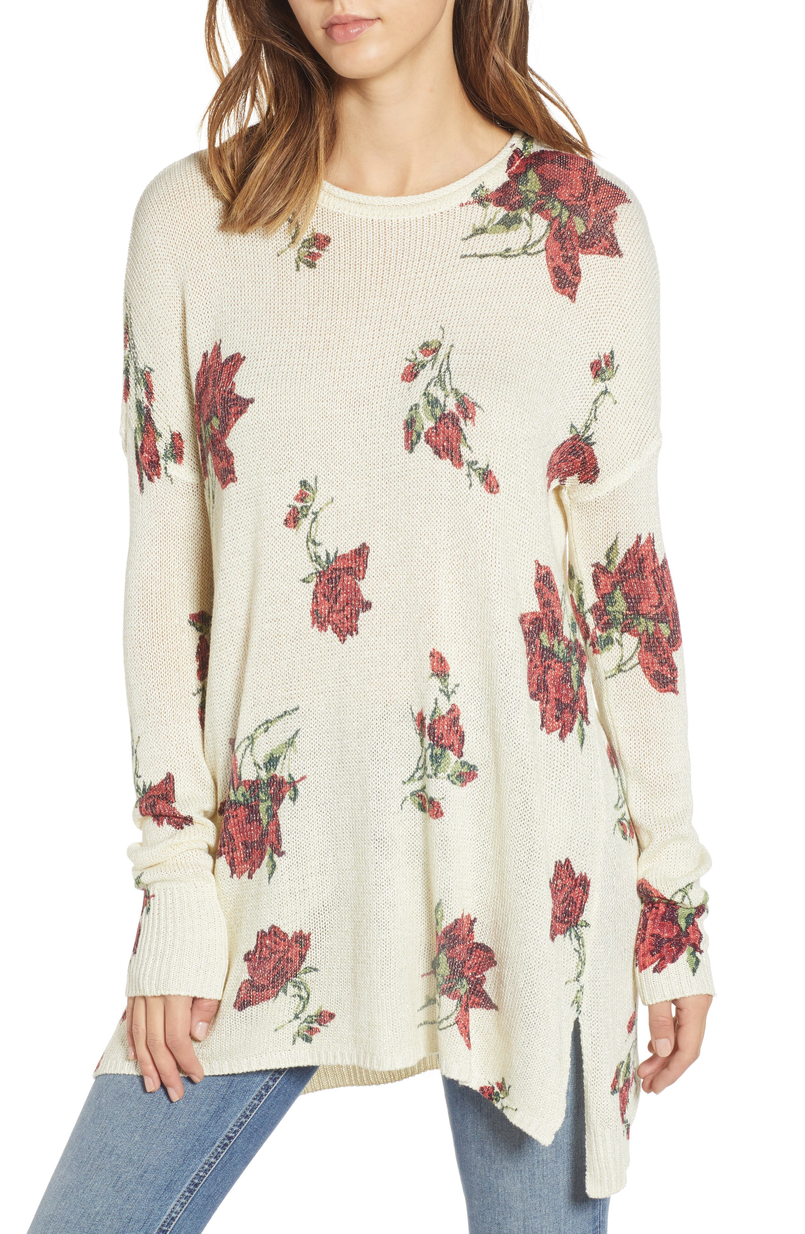 SHOW ME YOUR MUMU Bonfire High/Low Sweater in Winter Rose Shimmer Knit