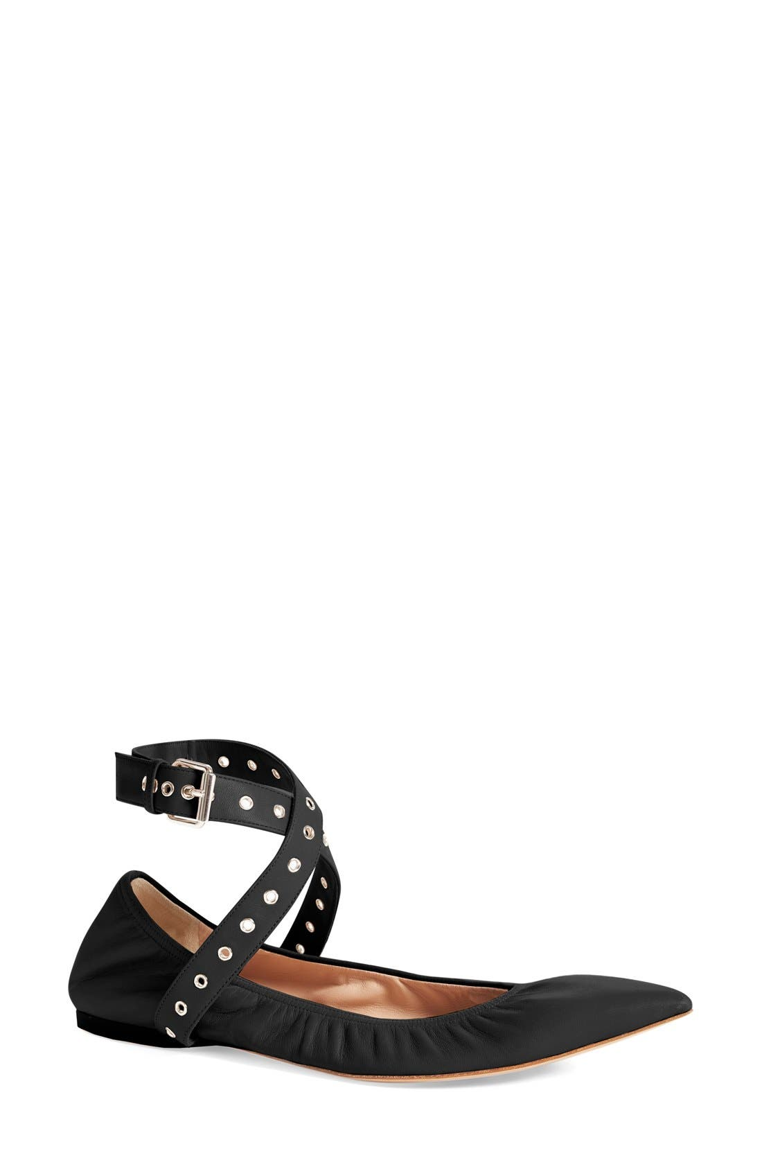 'Love Latch' Pointy Toe Flat,                             Main thumbnail 1, color,                             002
