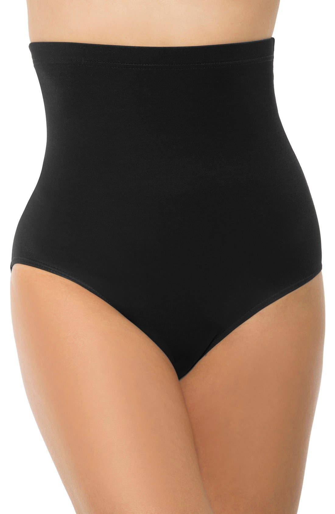 High Waist Control Bikini Bottoms, Main, color, BLACK