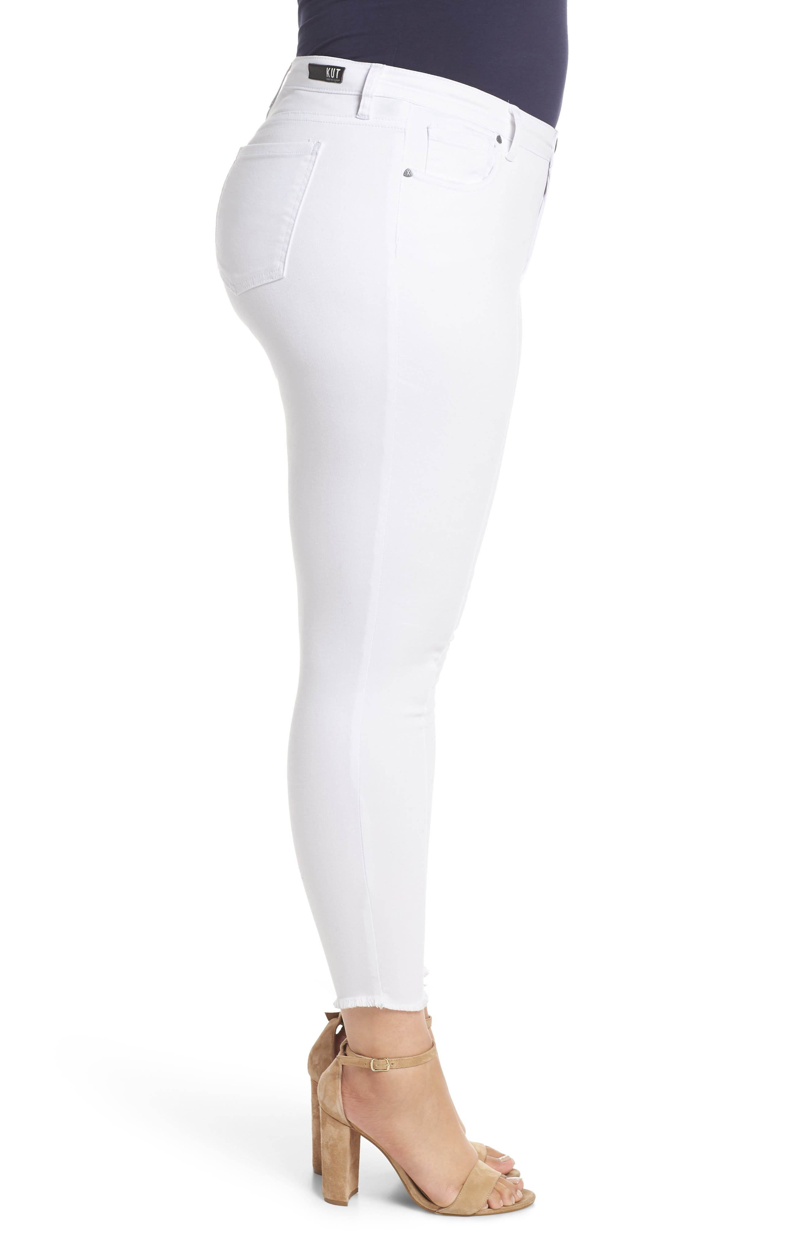 Donna Ankle Frayed Skinny Jeans,                             Alternate thumbnail 3, color,                             OPTIC WHITE