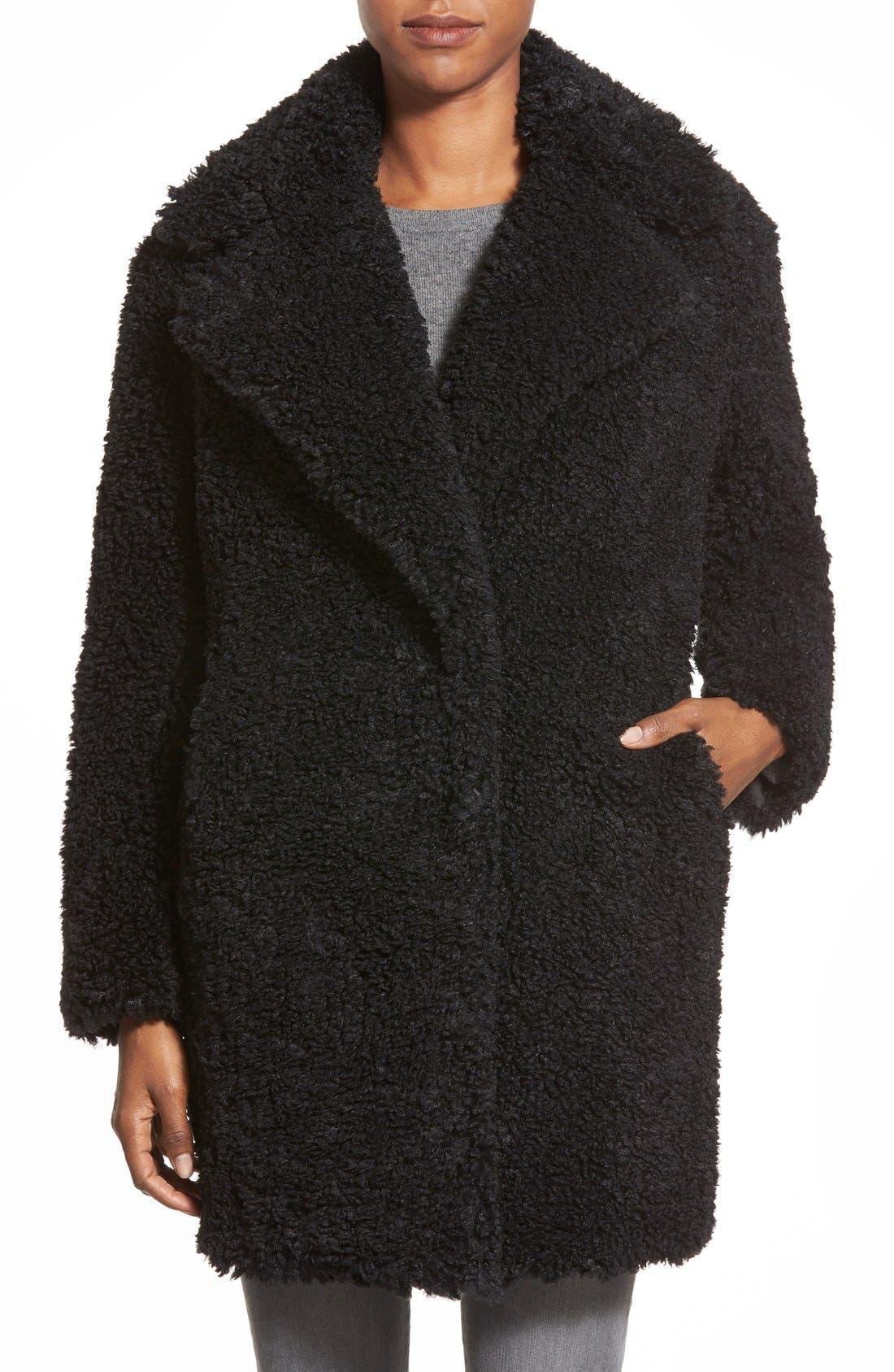 KENSIE 'Teddy Bear' Notch Collar Reversible Faux Fur Coat, Main, color, 001