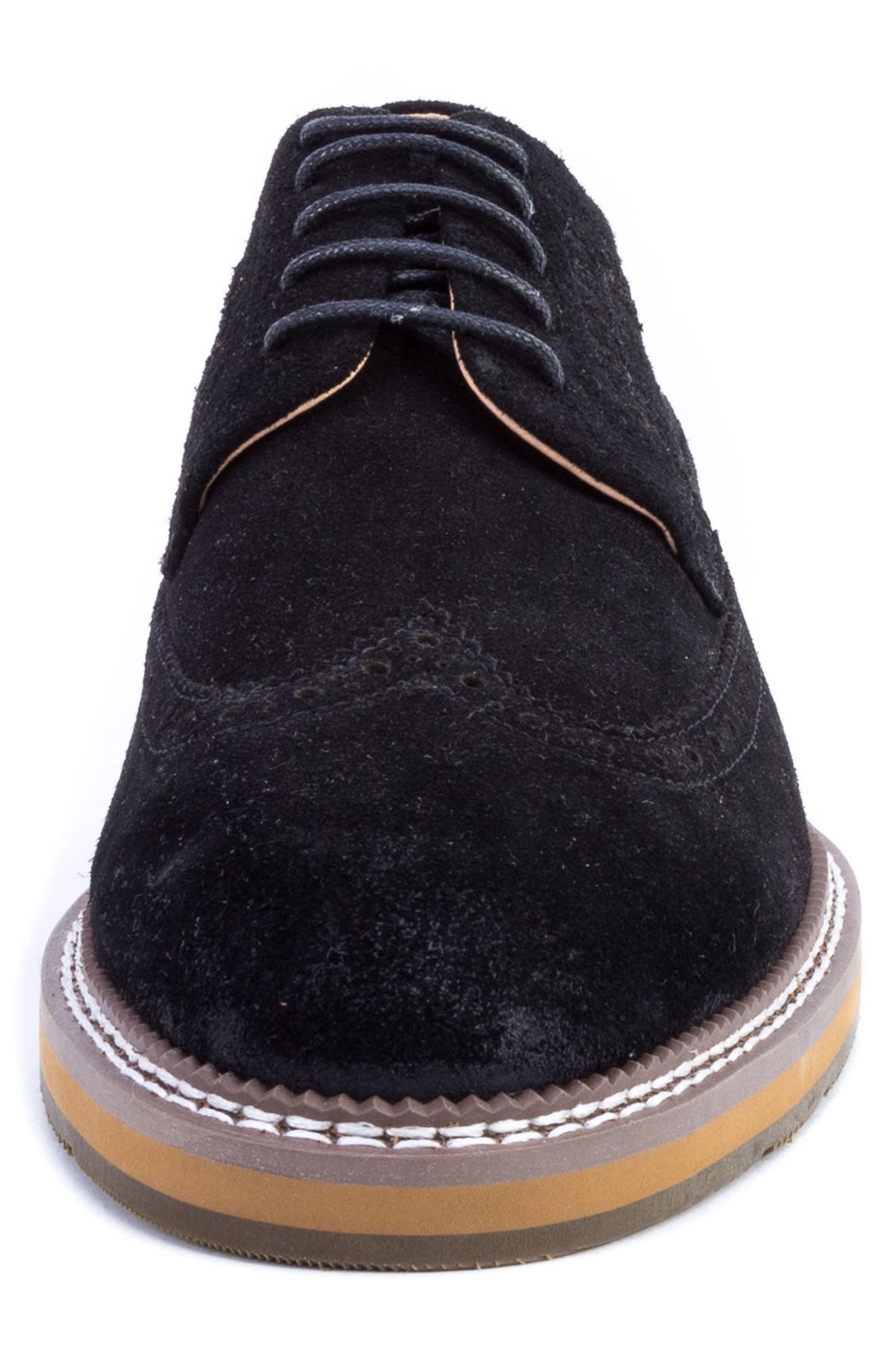 Modigliani Wingtip Derby,                             Alternate thumbnail 4, color,                             BLACK SUEDE