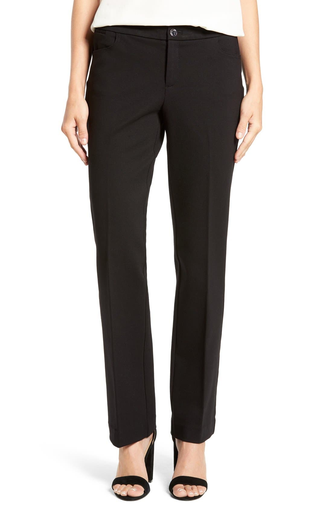 Compression Flare Leg Ponte Pants, Main, color, BLACK
