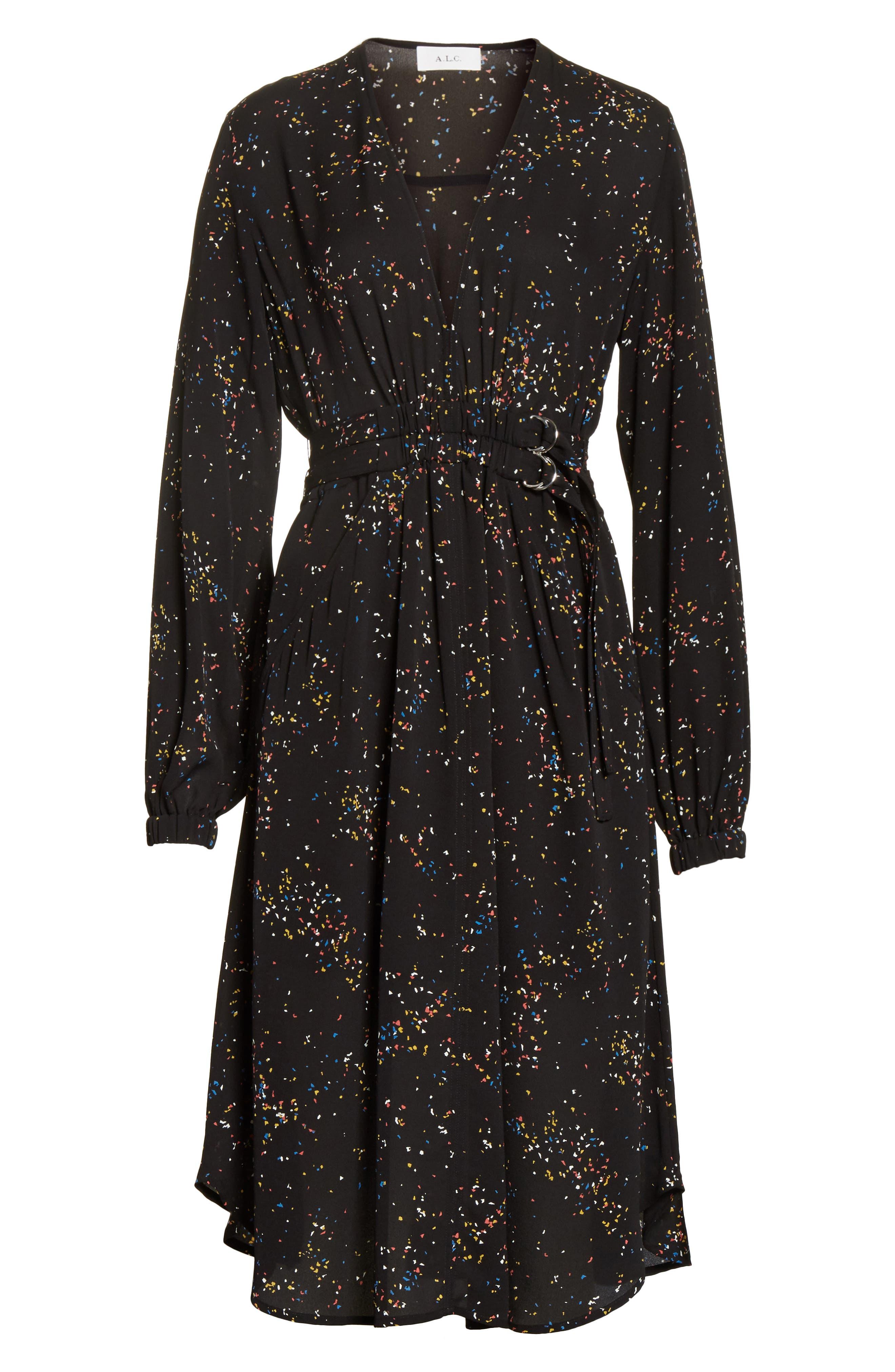 Samantha Print Silk Dress,                             Alternate thumbnail 6, color,                             002