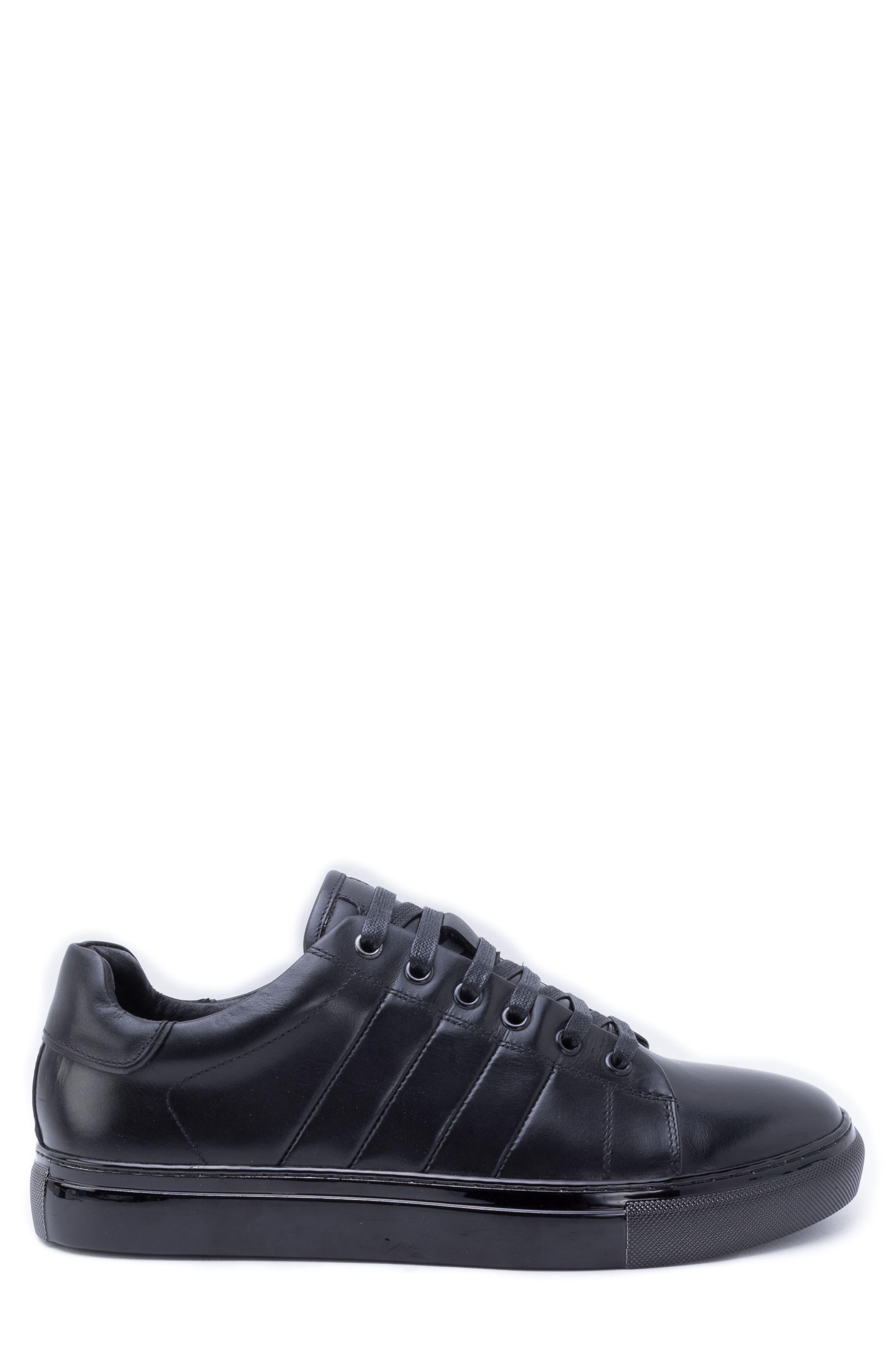 Hackman Sneaker,                             Alternate thumbnail 3, color,                             BLACK LEATHER