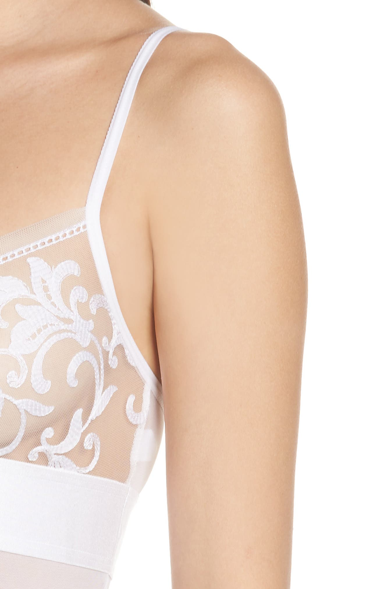 Fleur de Lis Lace Bodysuit,                             Alternate thumbnail 4, color,                             WHITE