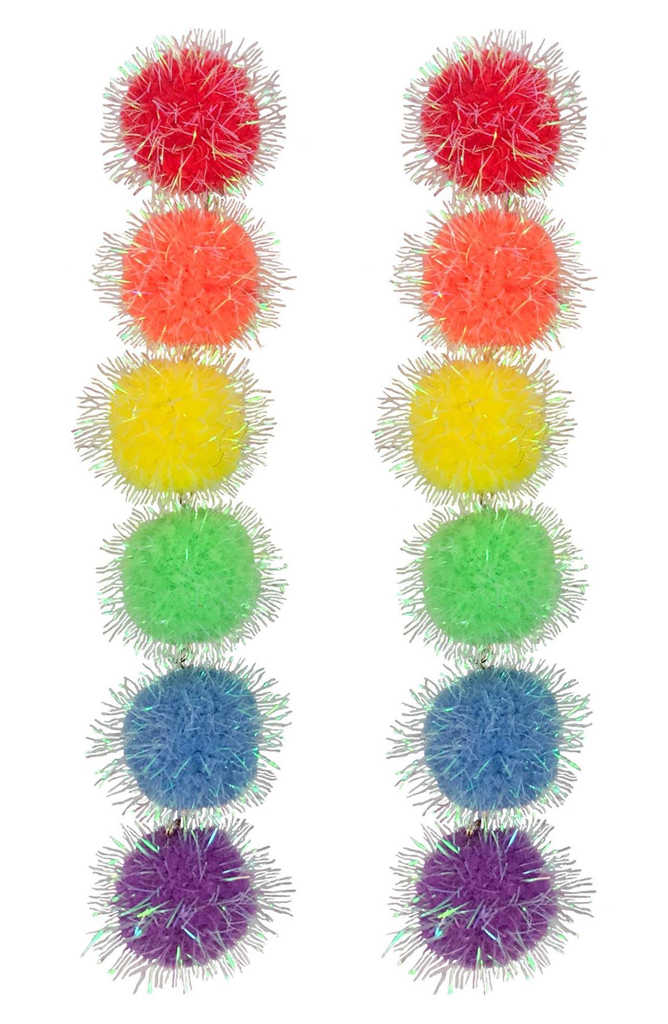 Rainbow Puff Drop Earrings,                         Main,                         color,