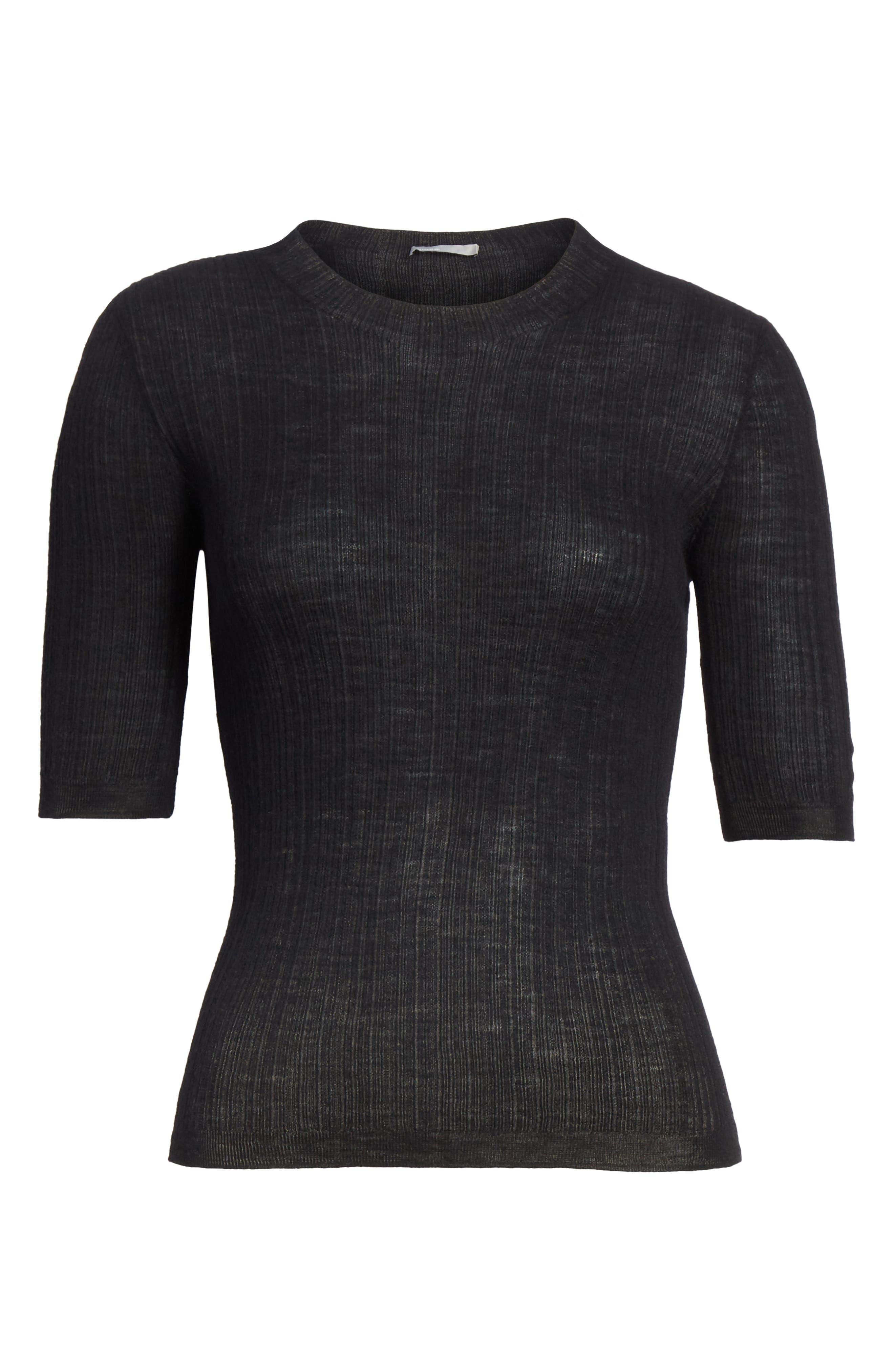 Shrunken Merino Wool Sweater,                             Alternate thumbnail 6, color,                             BLACK