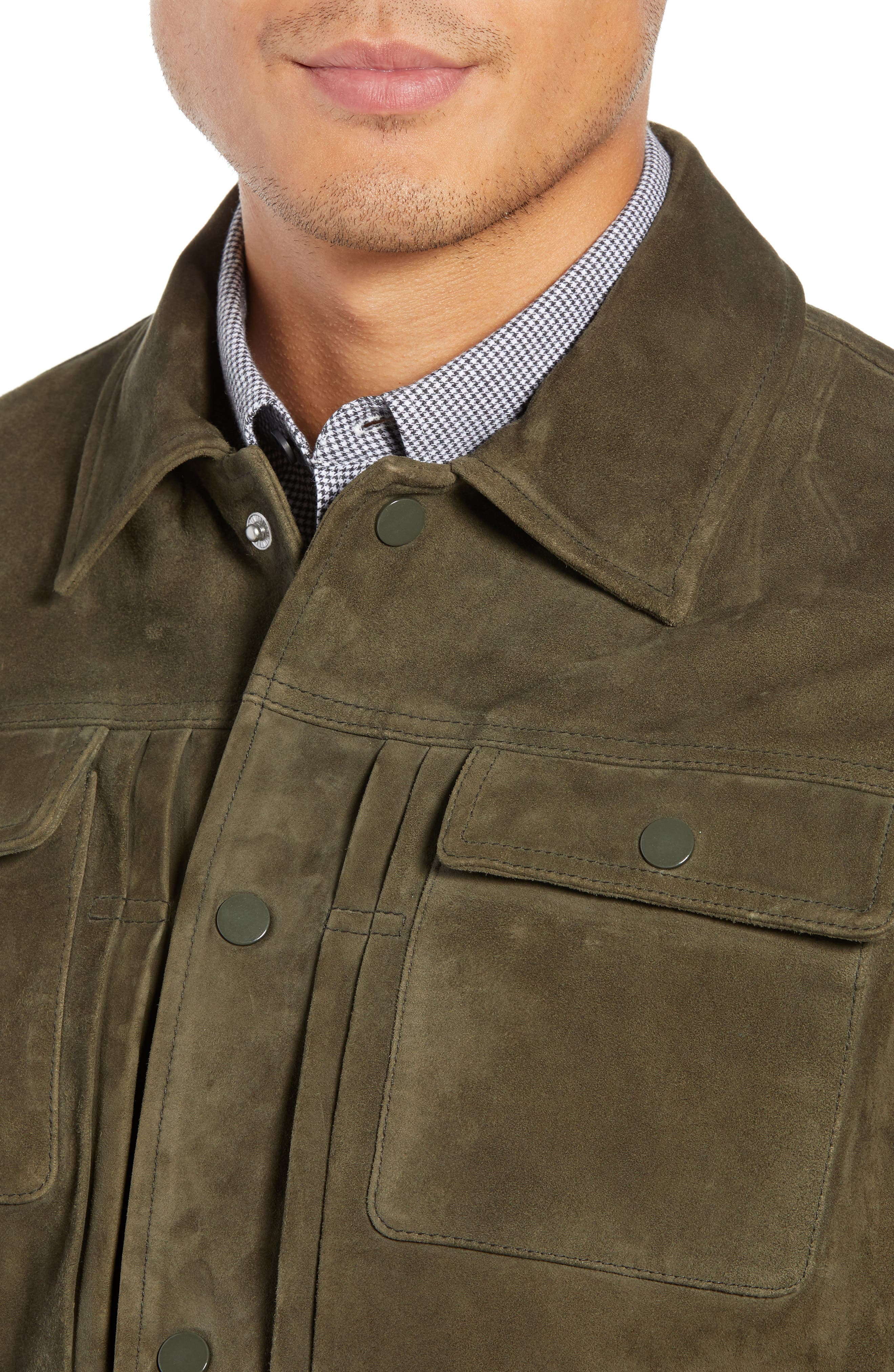 Suede Trucker Jacket,                             Alternate thumbnail 4, color,                             PALERMO OLIVE