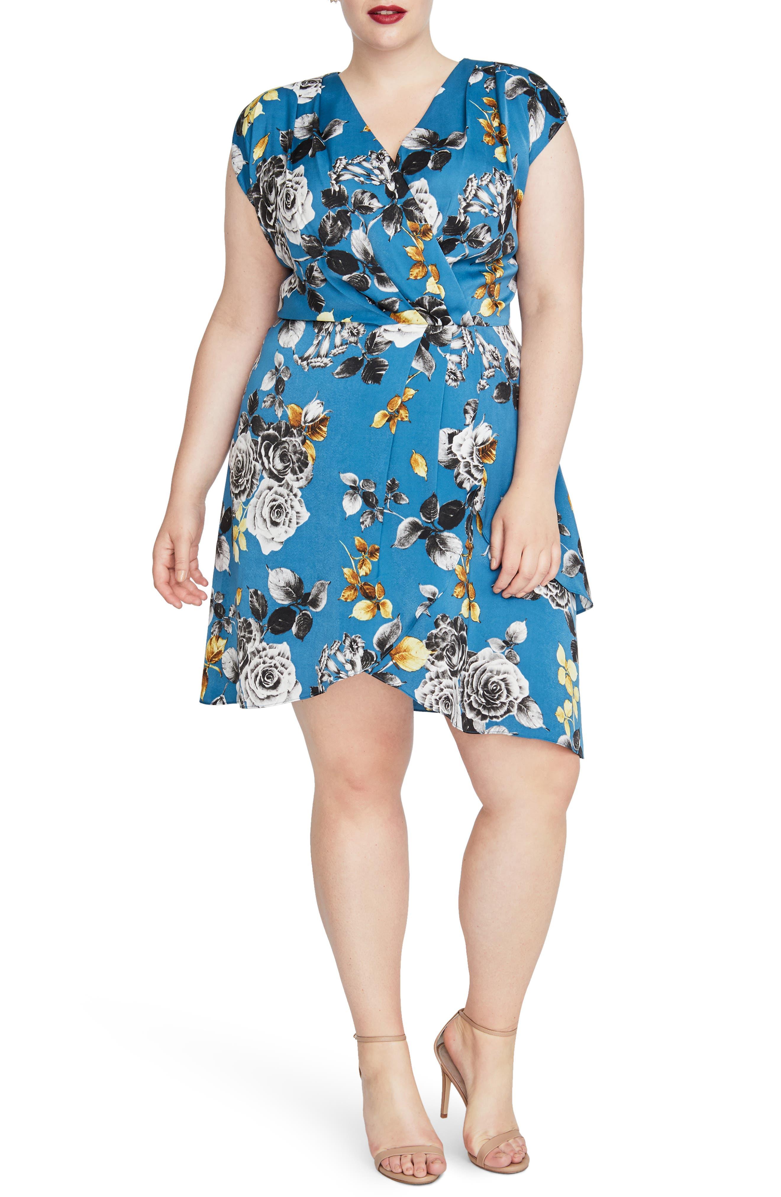 Pierce Floral Dress,                             Main thumbnail 1, color,                             TEAL BLUE COMBO