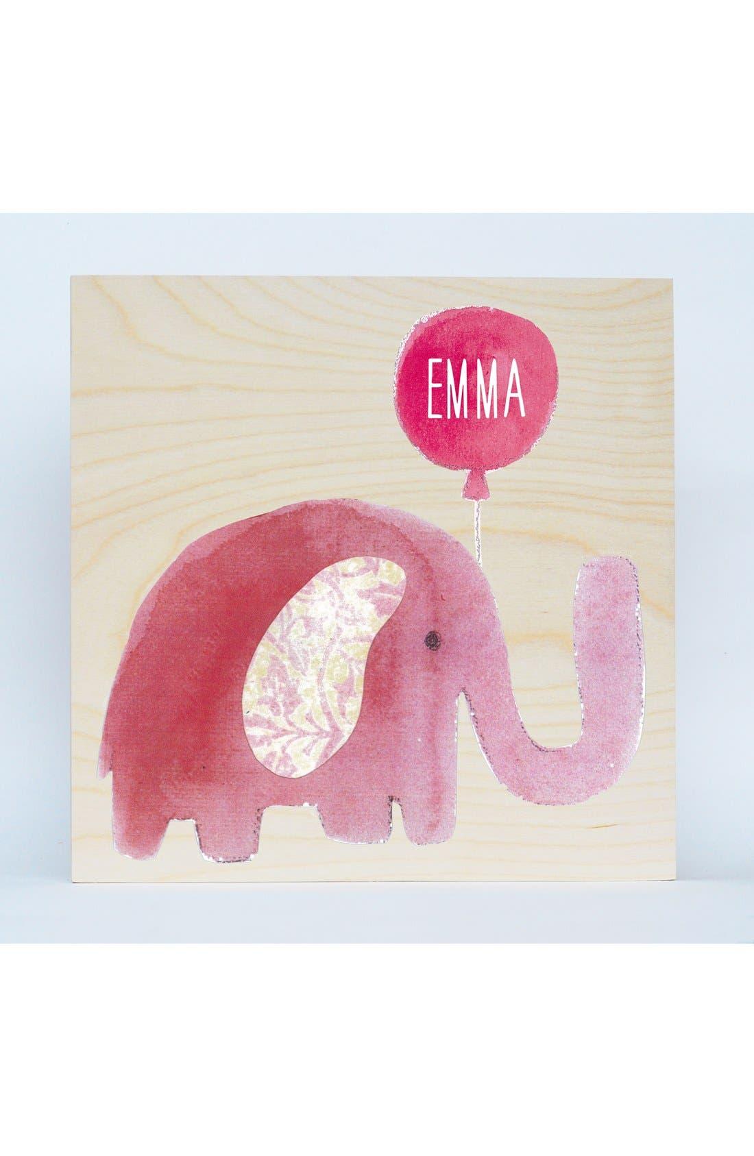 'Elephant' Personalized Birchwood Wall Art,                             Main thumbnail 1, color,                             650