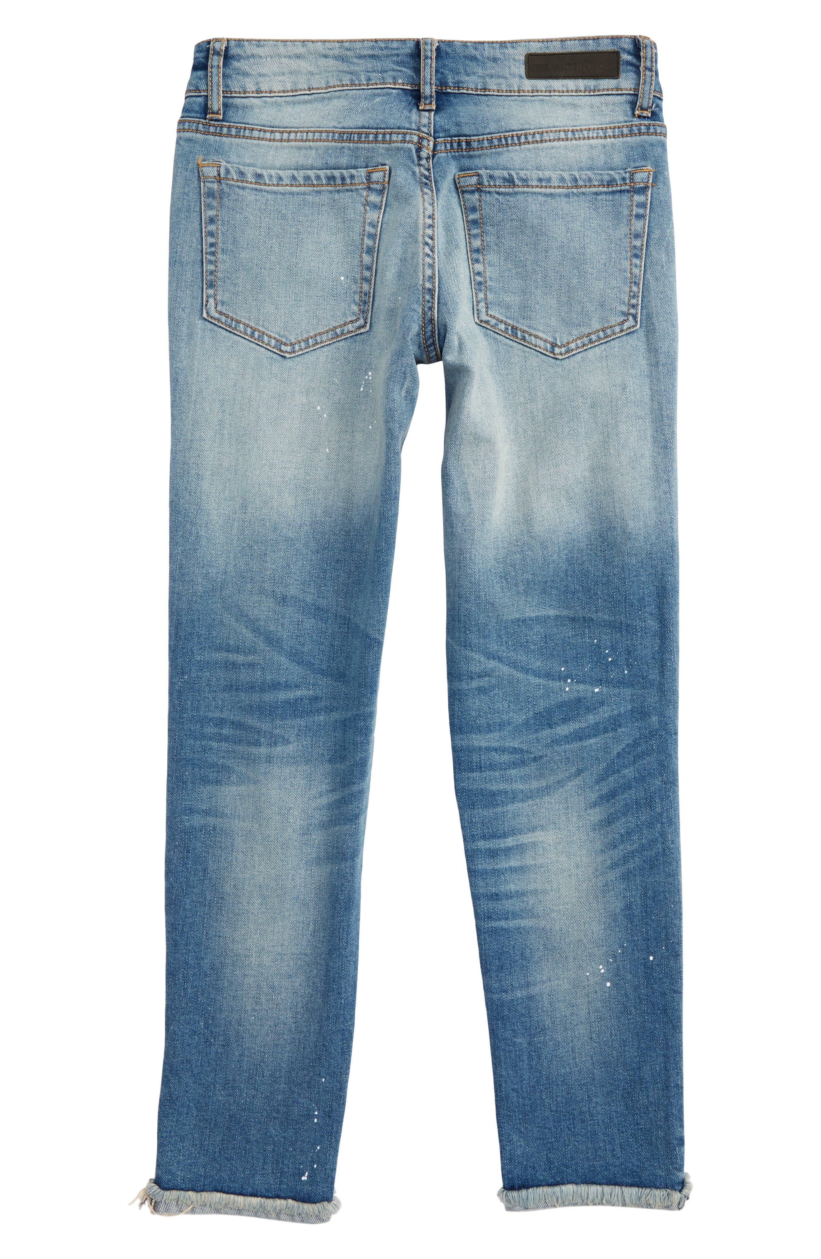 Crop Distressed Girlfriend Jeans,                             Alternate thumbnail 2, color,                             450