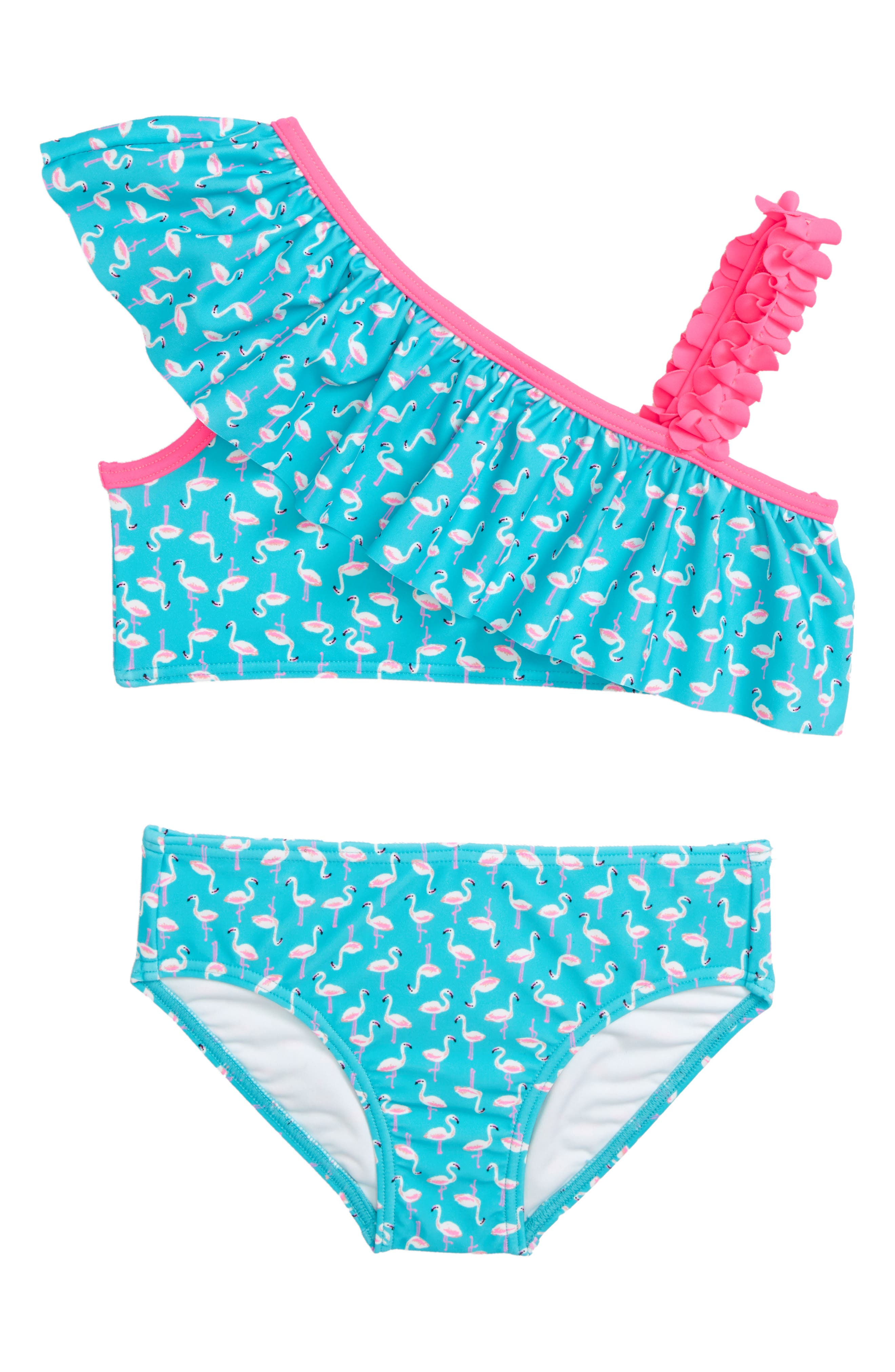 TUCKER + TATE,                             Ruffle One-Shoulder Two-Piece Swimsuit,                             Main thumbnail 1, color,                             440