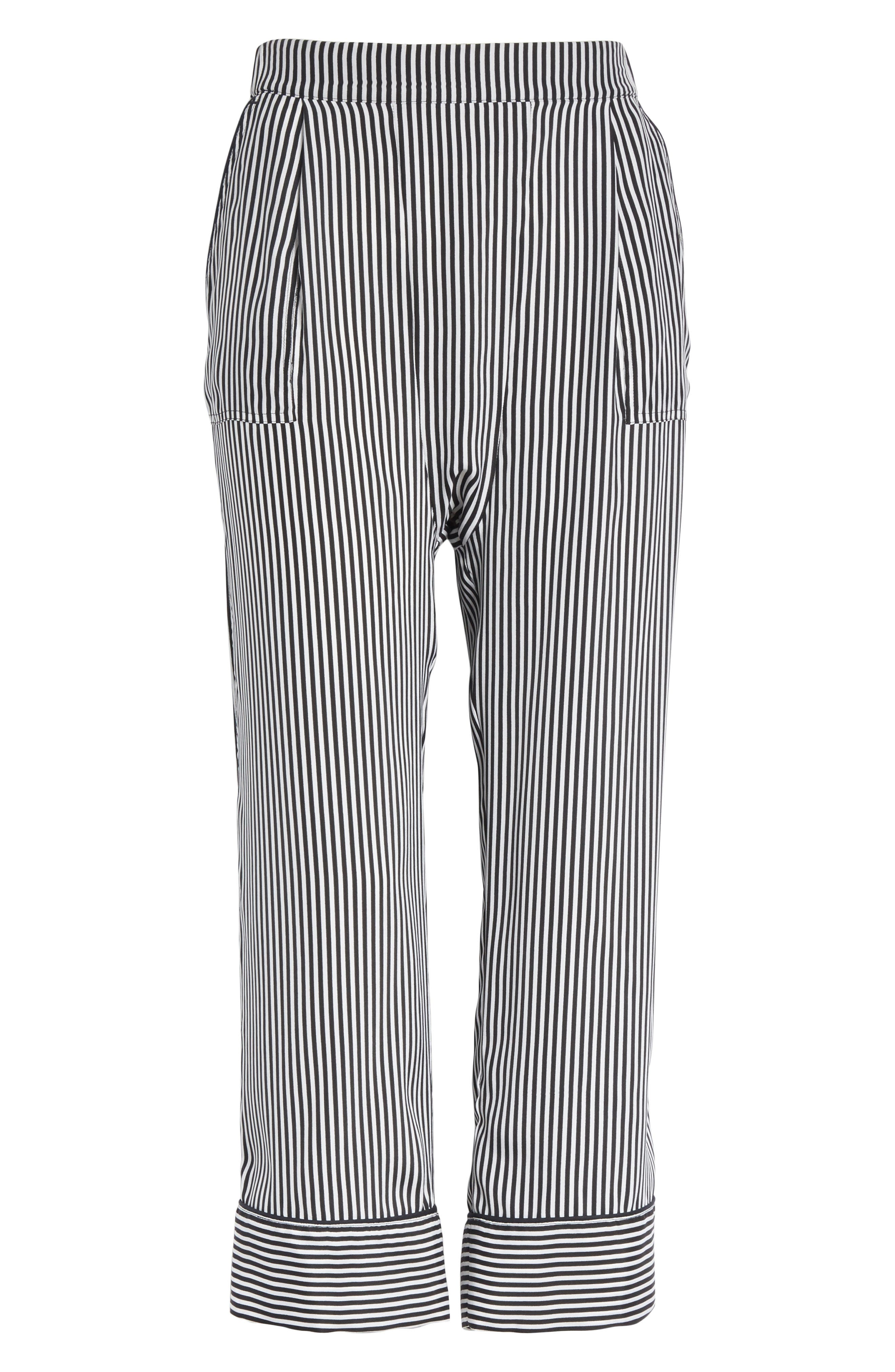 Pencil Stripe Silk Pajama Trousers,                             Alternate thumbnail 6, color,                             001