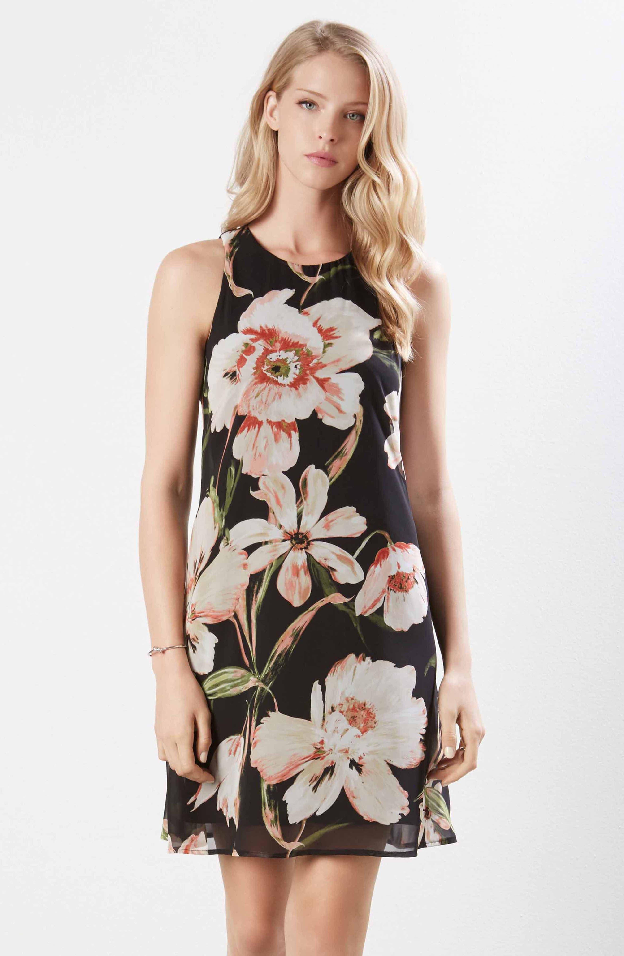 Sheer Floral Overlay Shift Dress,                             Alternate thumbnail 4, color,                             PRINT