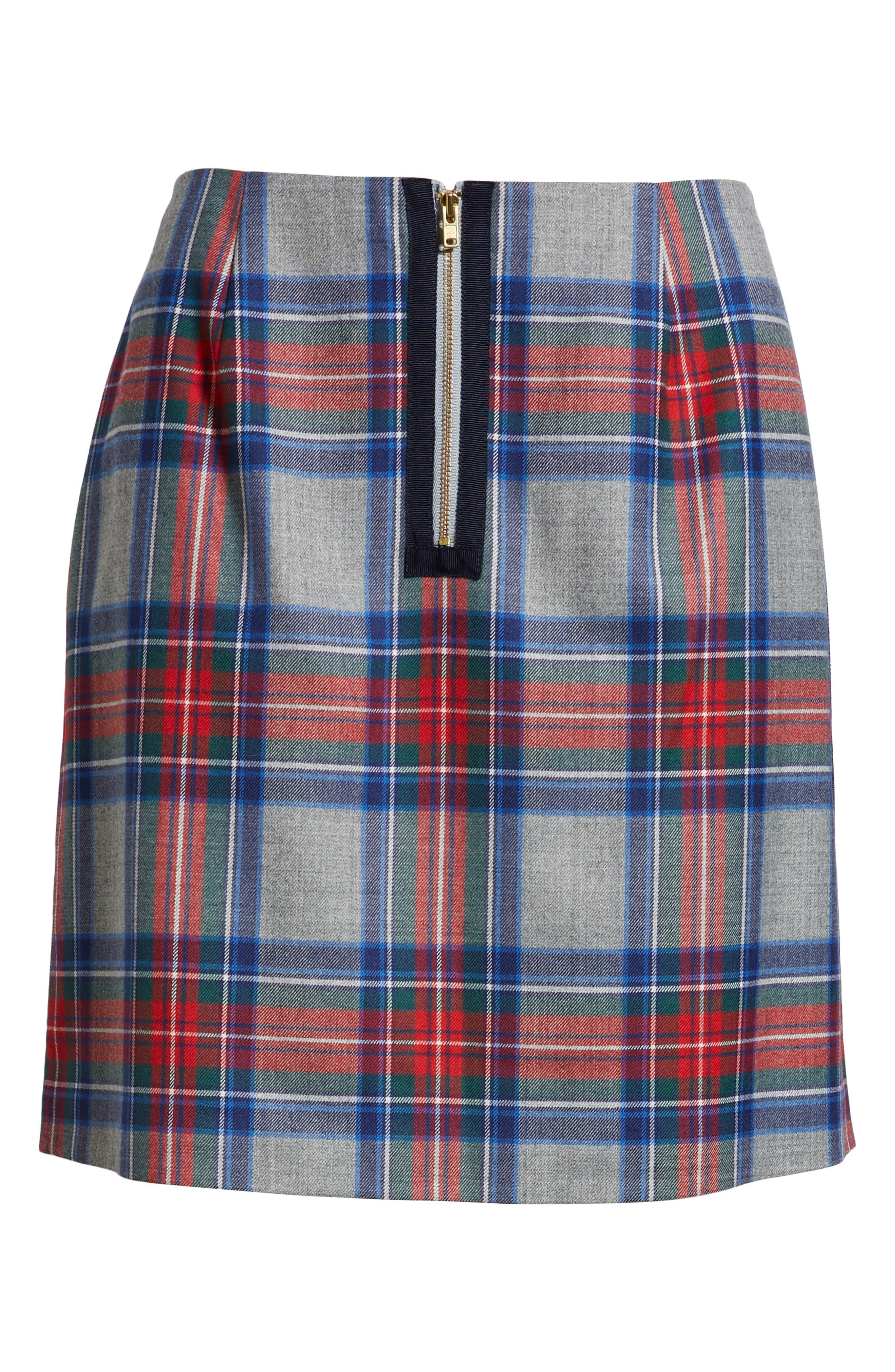 Jolly Plaid Miniskirt,                             Alternate thumbnail 6, color,                             GRAY HEATHER