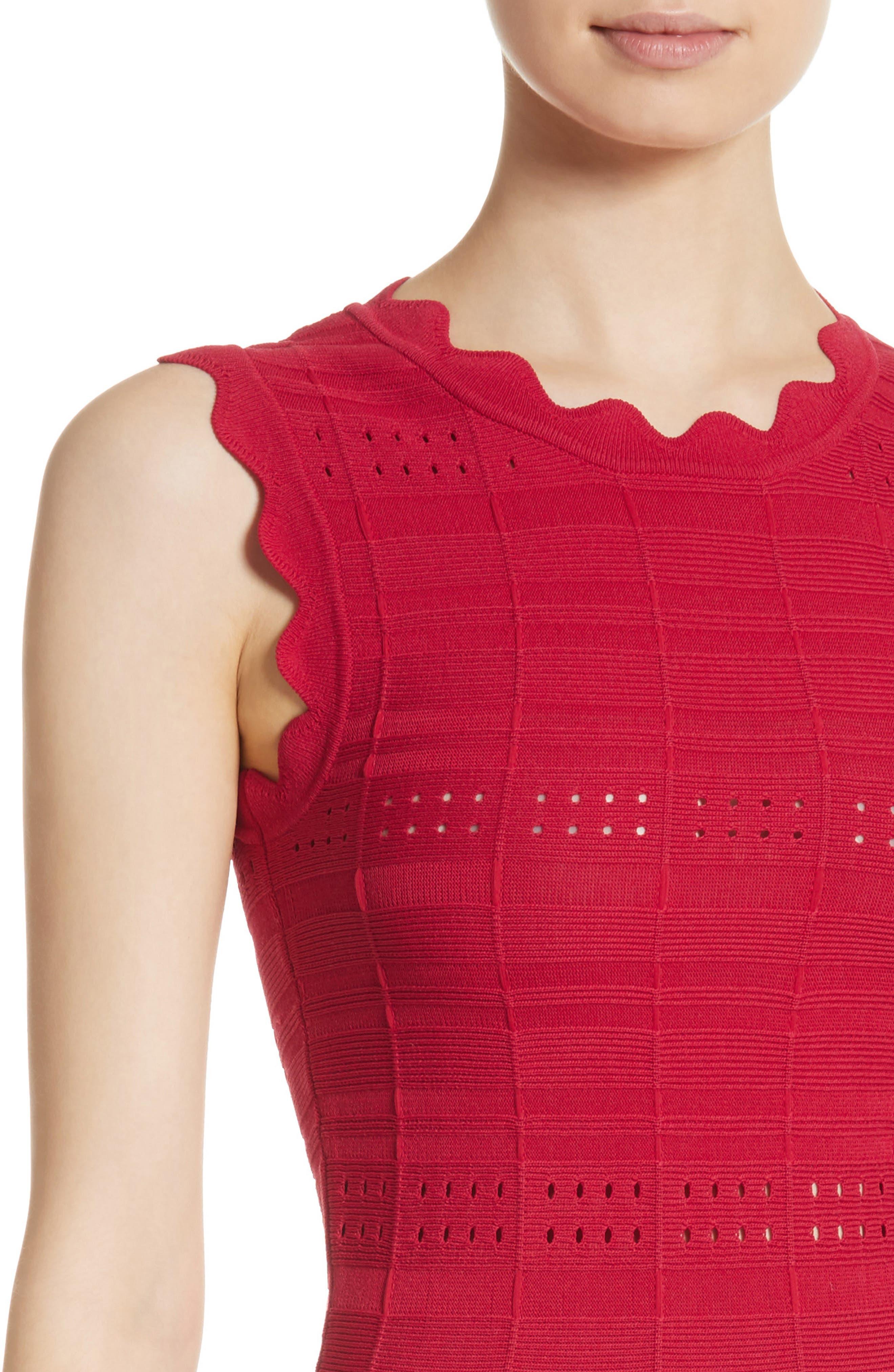 Scallop Trim Knit Dress,                             Alternate thumbnail 4, color,