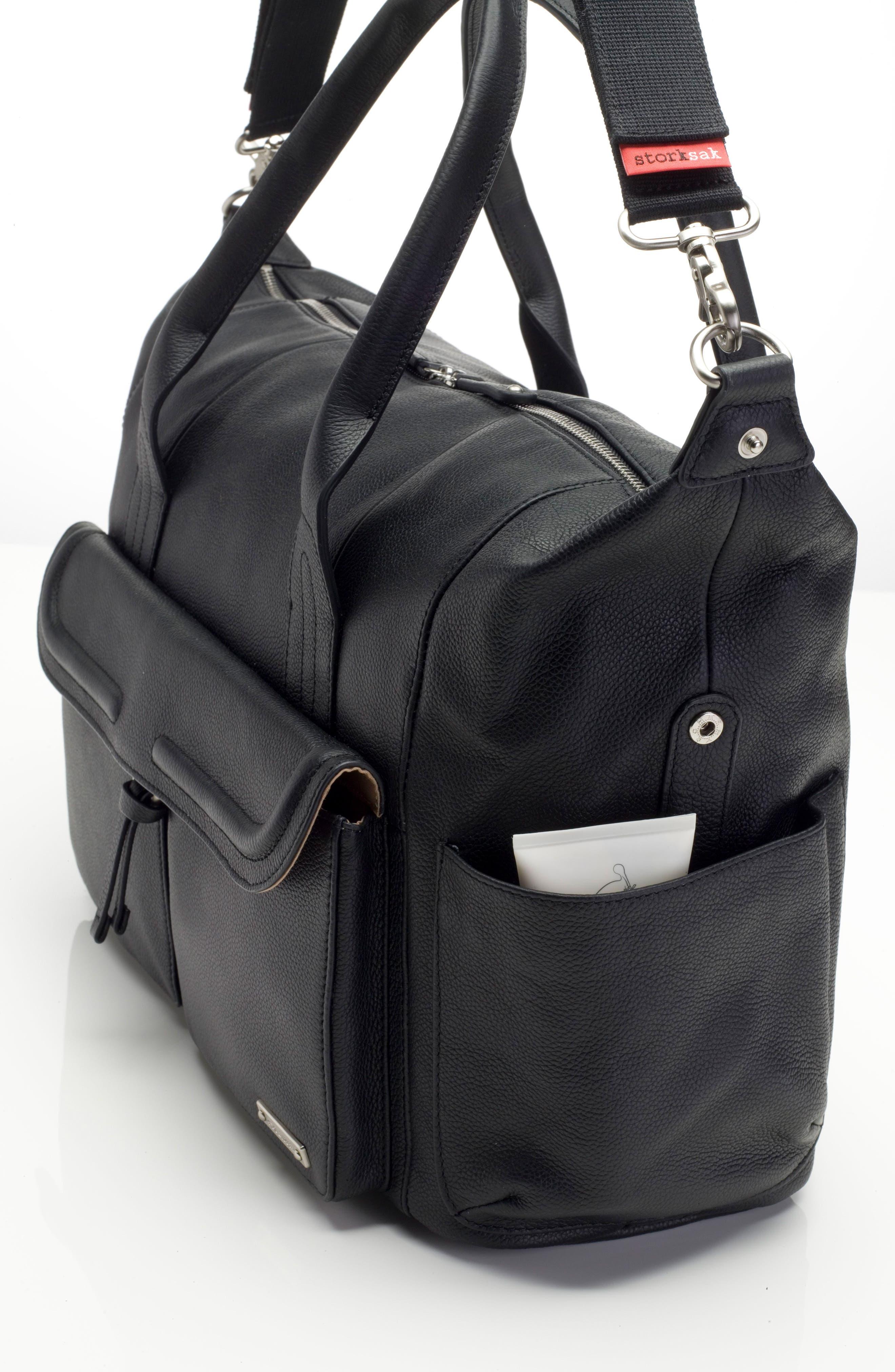 Storsak Leather Diaper Bag,                             Alternate thumbnail 5, color,                             BLACK
