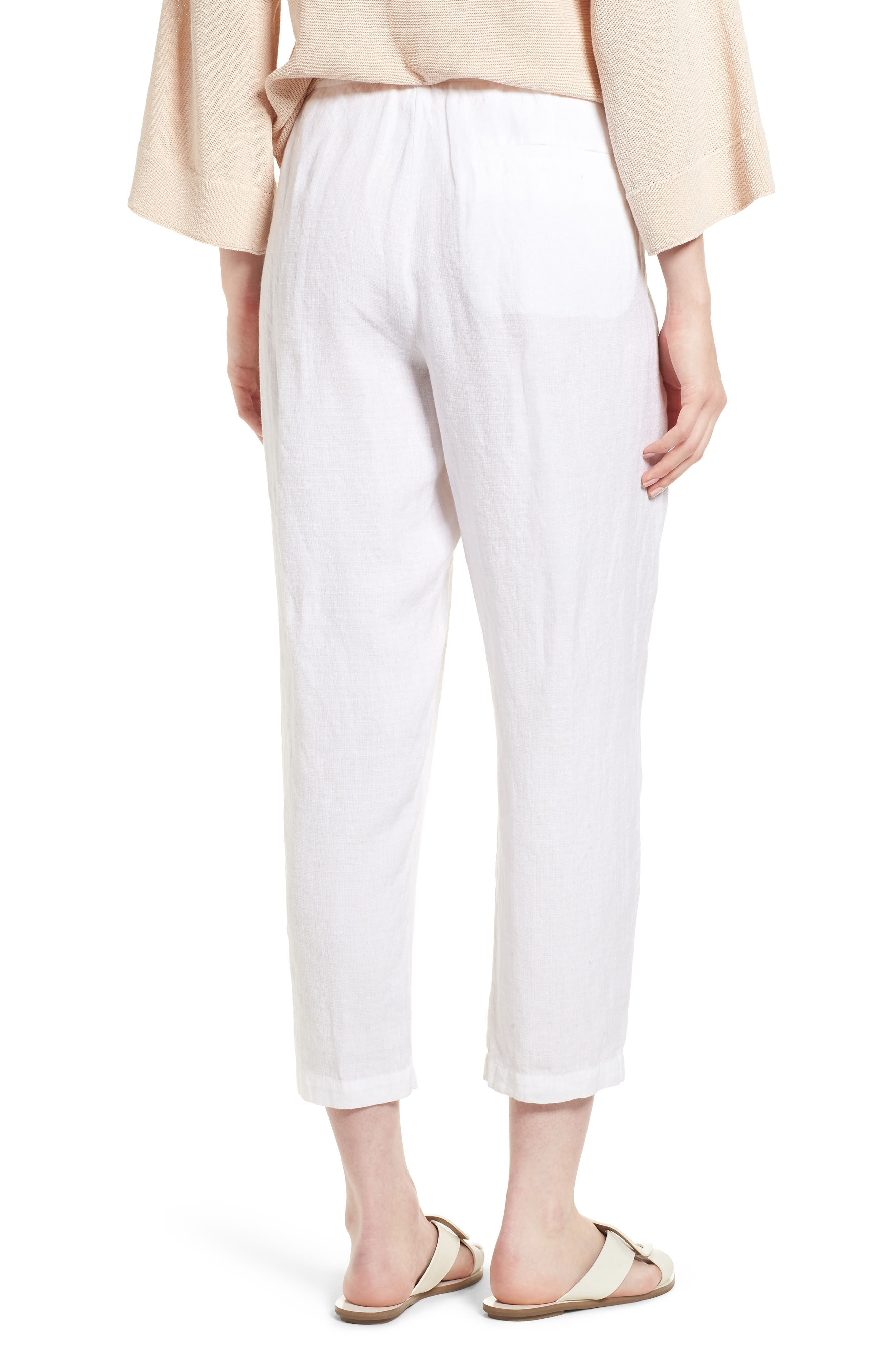 Pleated Linen Blend Ankle Trousers,                             Alternate thumbnail 4, color,