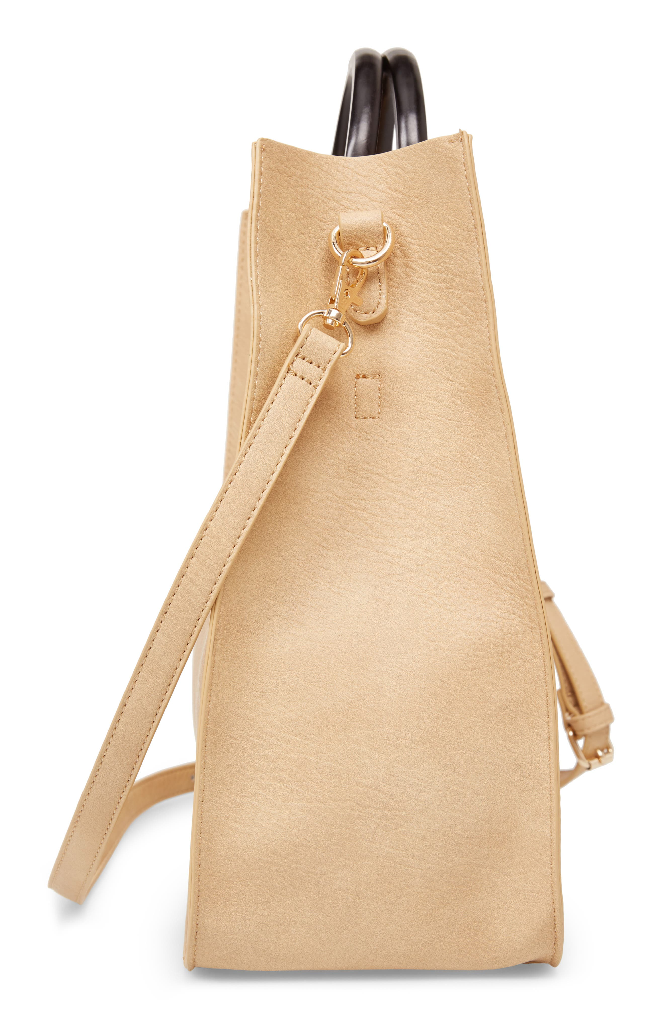 Wood Handle Faux Leather Tote,                             Alternate thumbnail 5, color,                             NATURAL