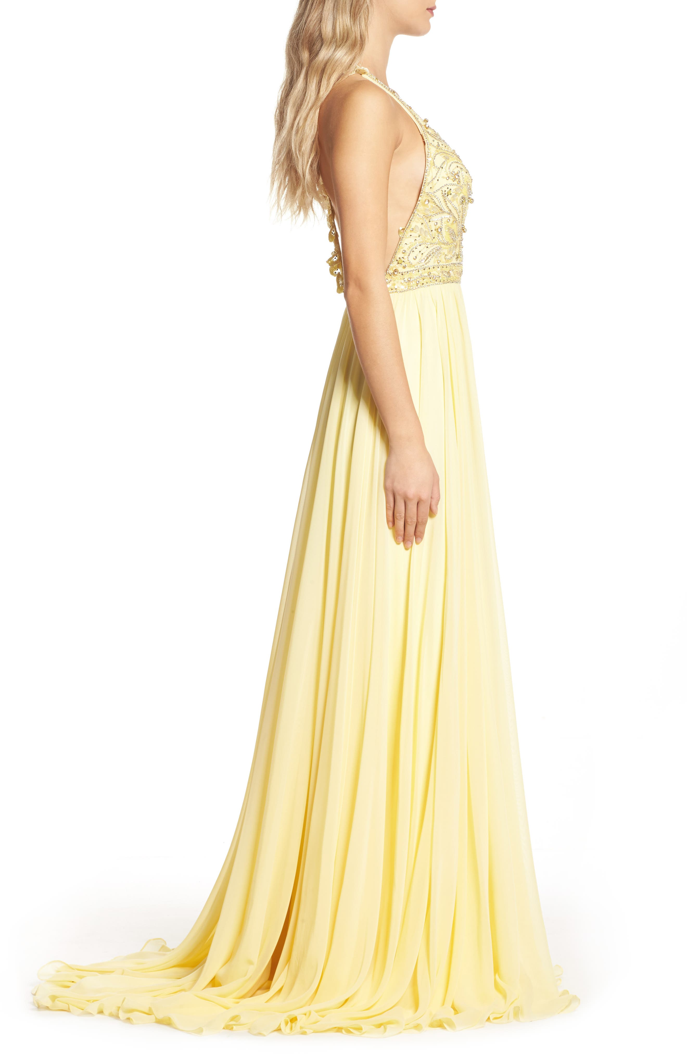 Beaded Halter Neck Gown,                             Alternate thumbnail 3, color,                             750