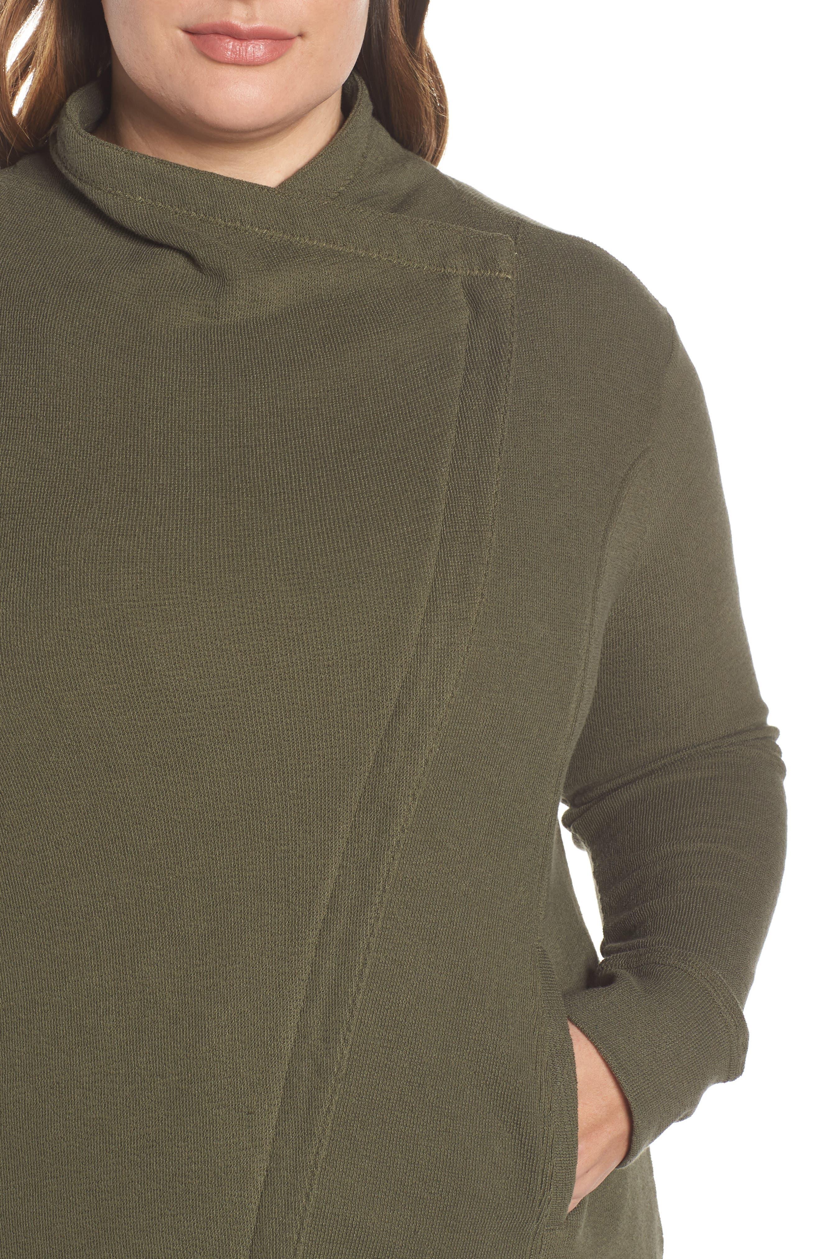 Knit Moto Jacket,                             Alternate thumbnail 4, color,                             OLIVE SARMA