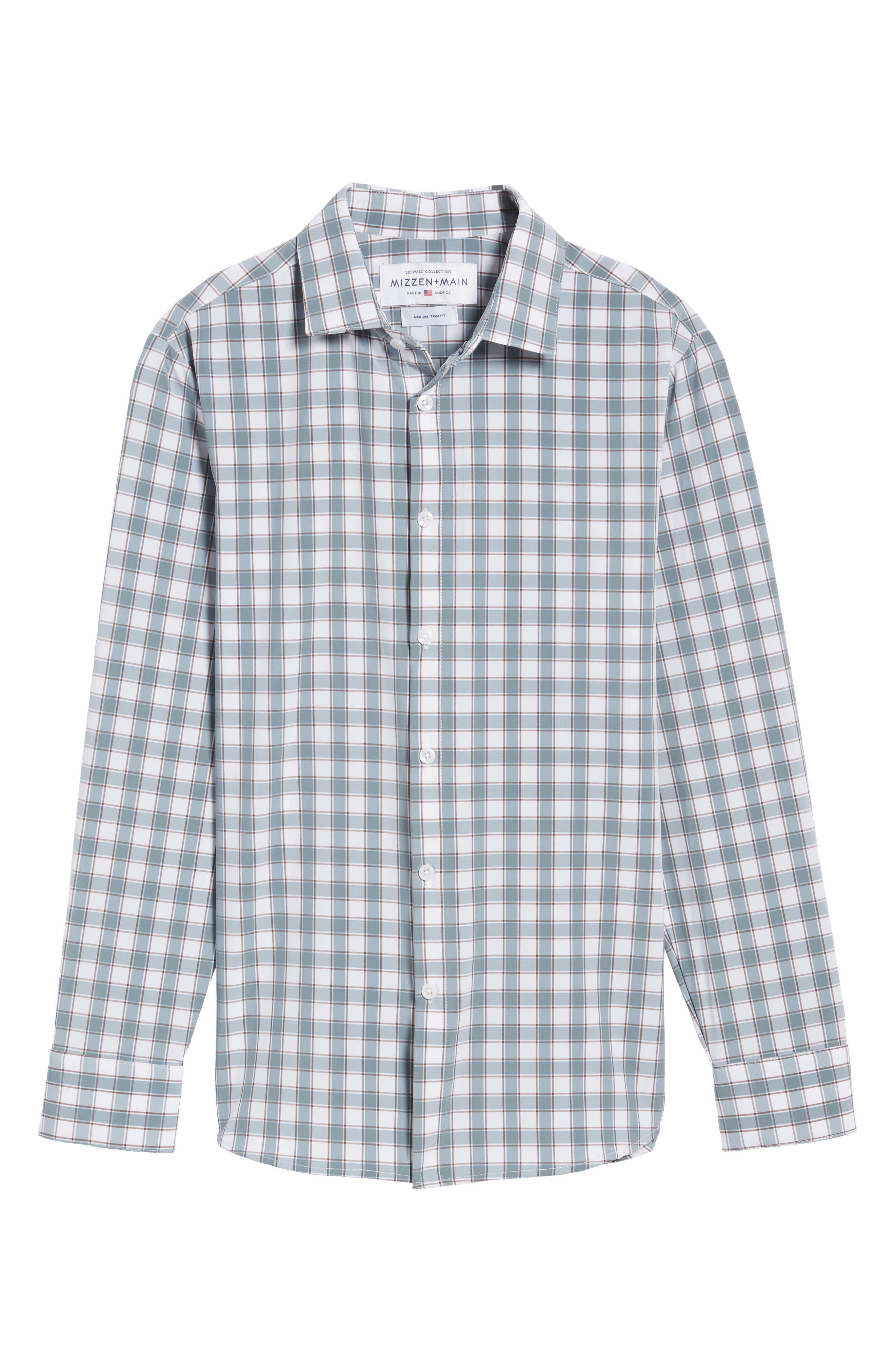 Covington Blue Shadow & Toffee Check Sport Shirt,                             Alternate thumbnail 6, color,                             400