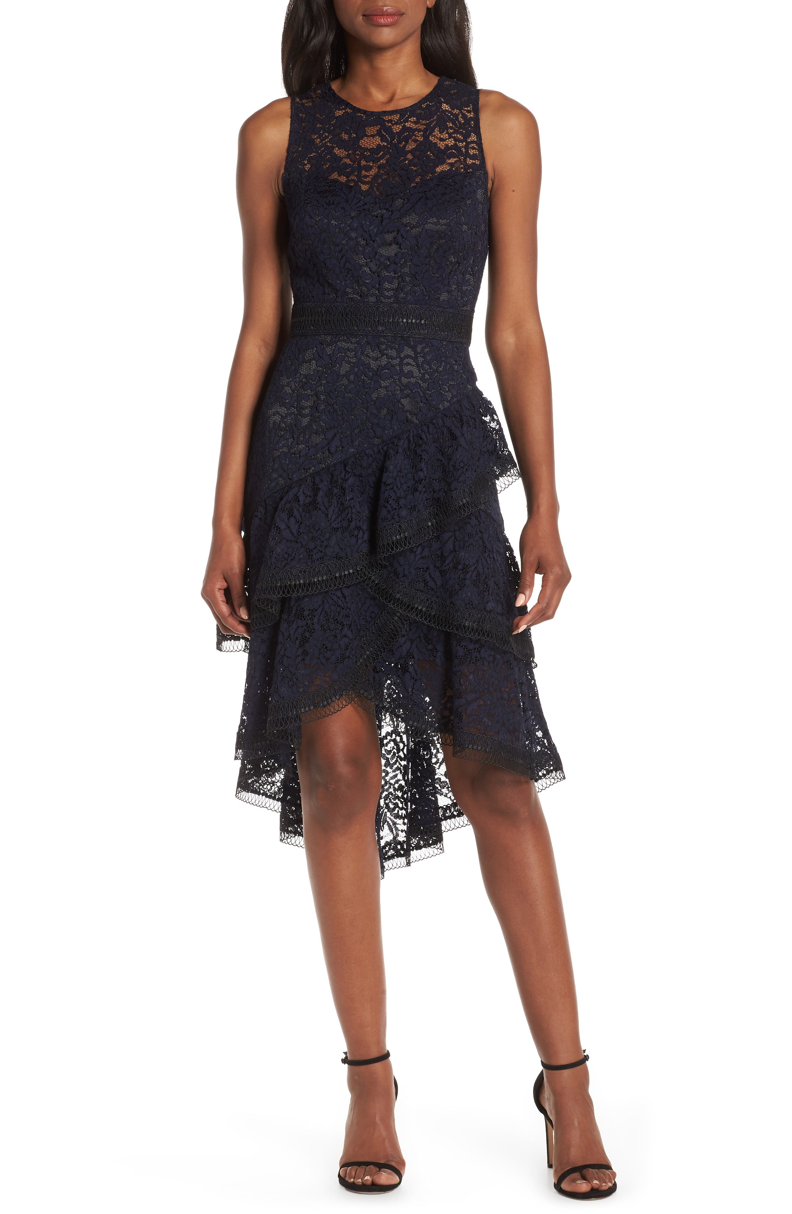 Eliza J Lace Asymmetrical Tiered Dress, Blue