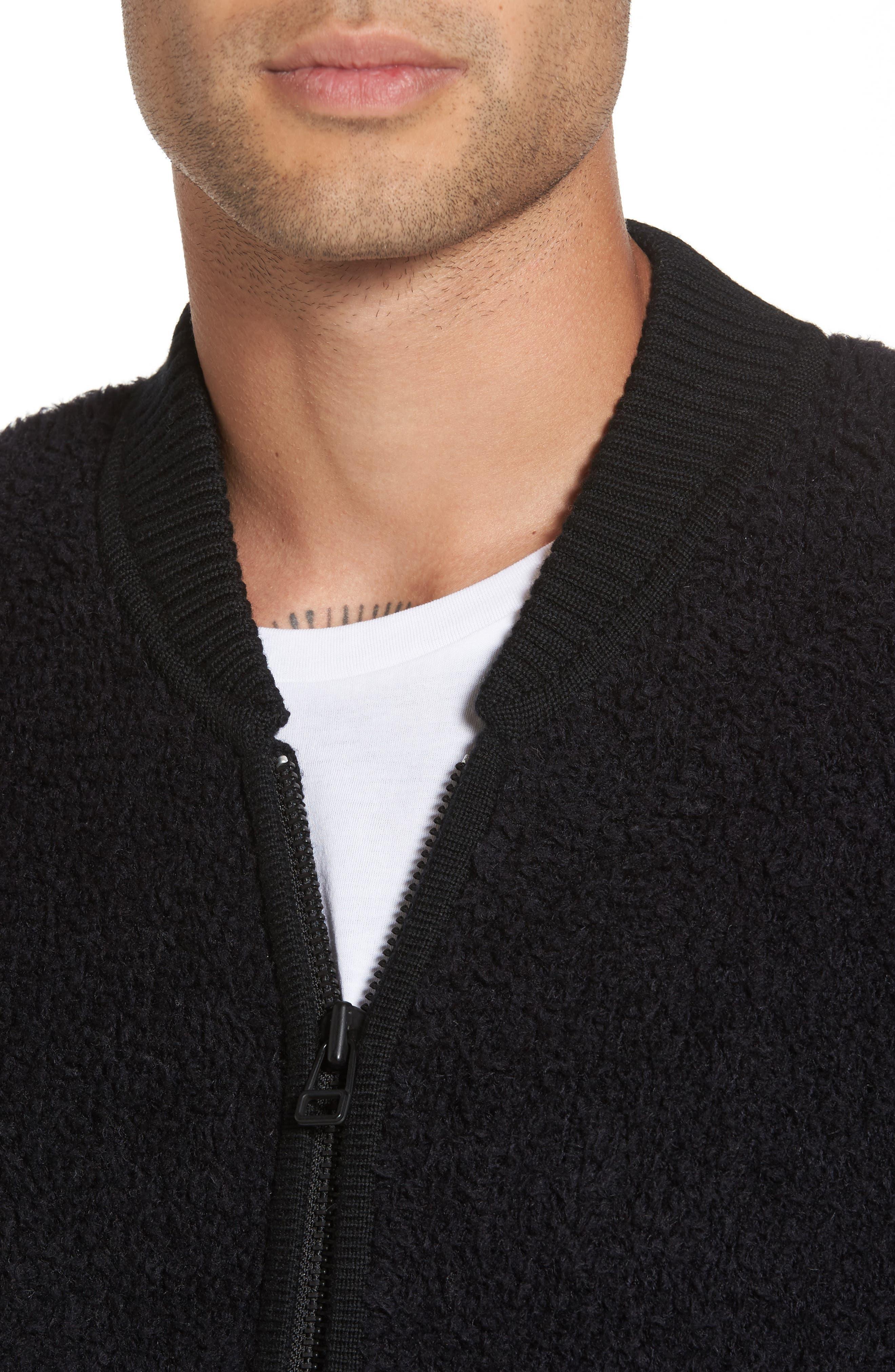 Fleece Wool Blend Bomber Jacket,                             Alternate thumbnail 4, color,                             001