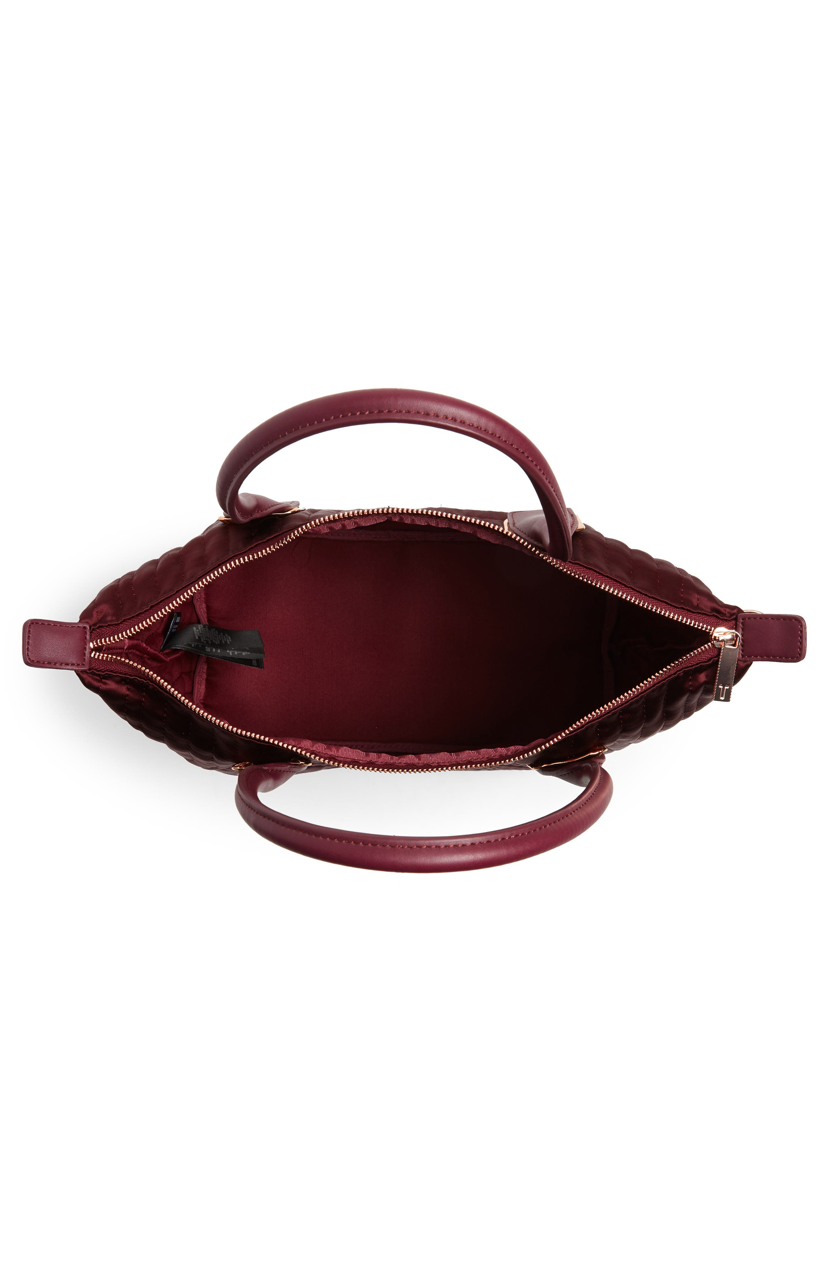Akebia Quilted Bow Small Nylon Tote,                             Alternate thumbnail 4, color,                             MAROON
