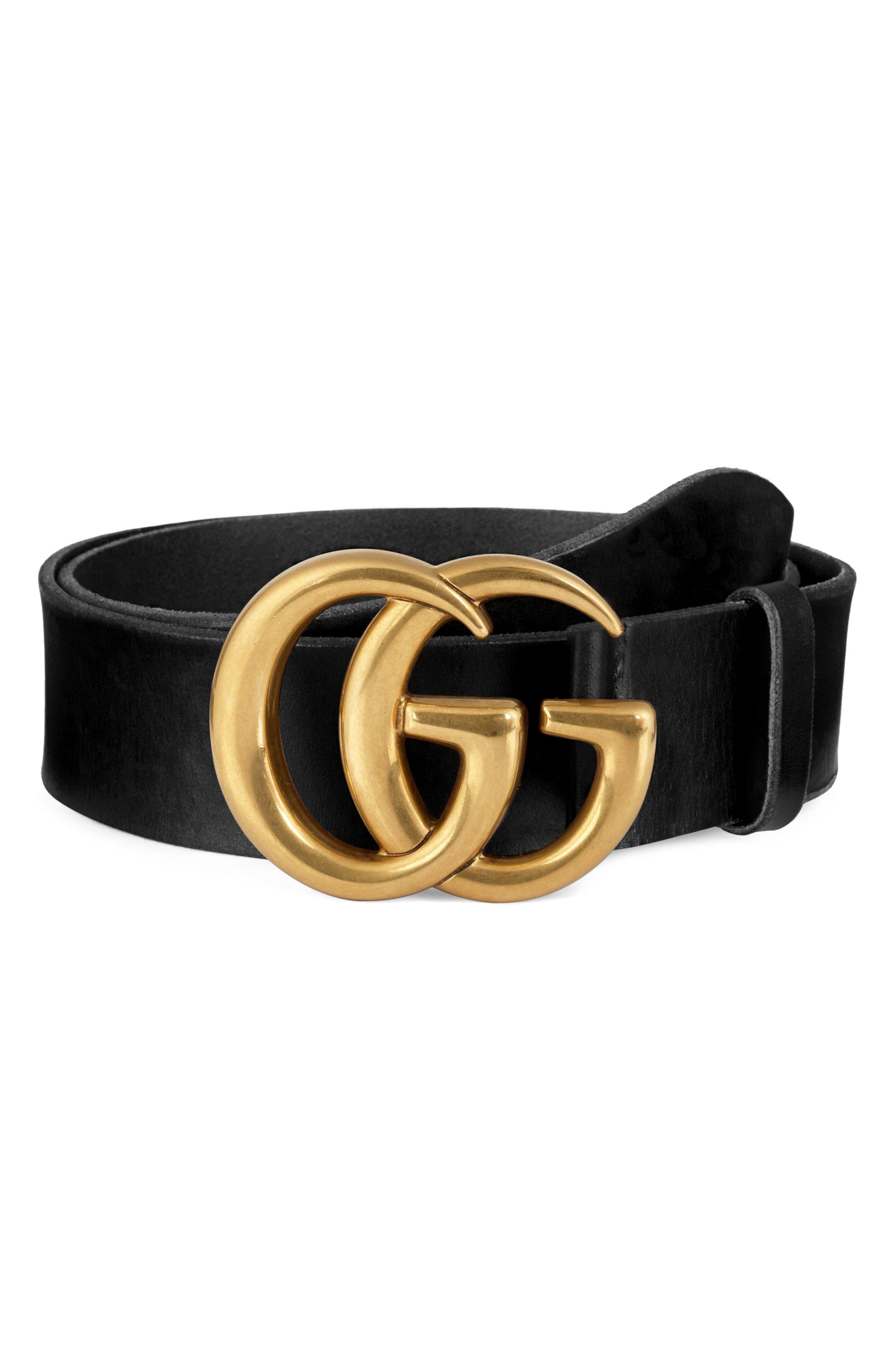 Running Gold Leather Belt,                             Main thumbnail 1, color,                             001