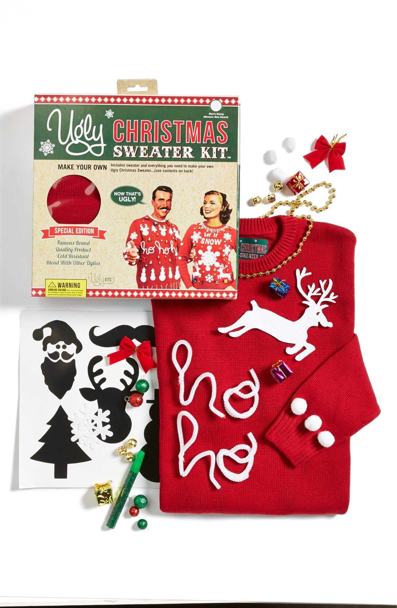 Ugly Christmas Sweater Solid Make-Your-Own Sweater Kit (Juniors ...